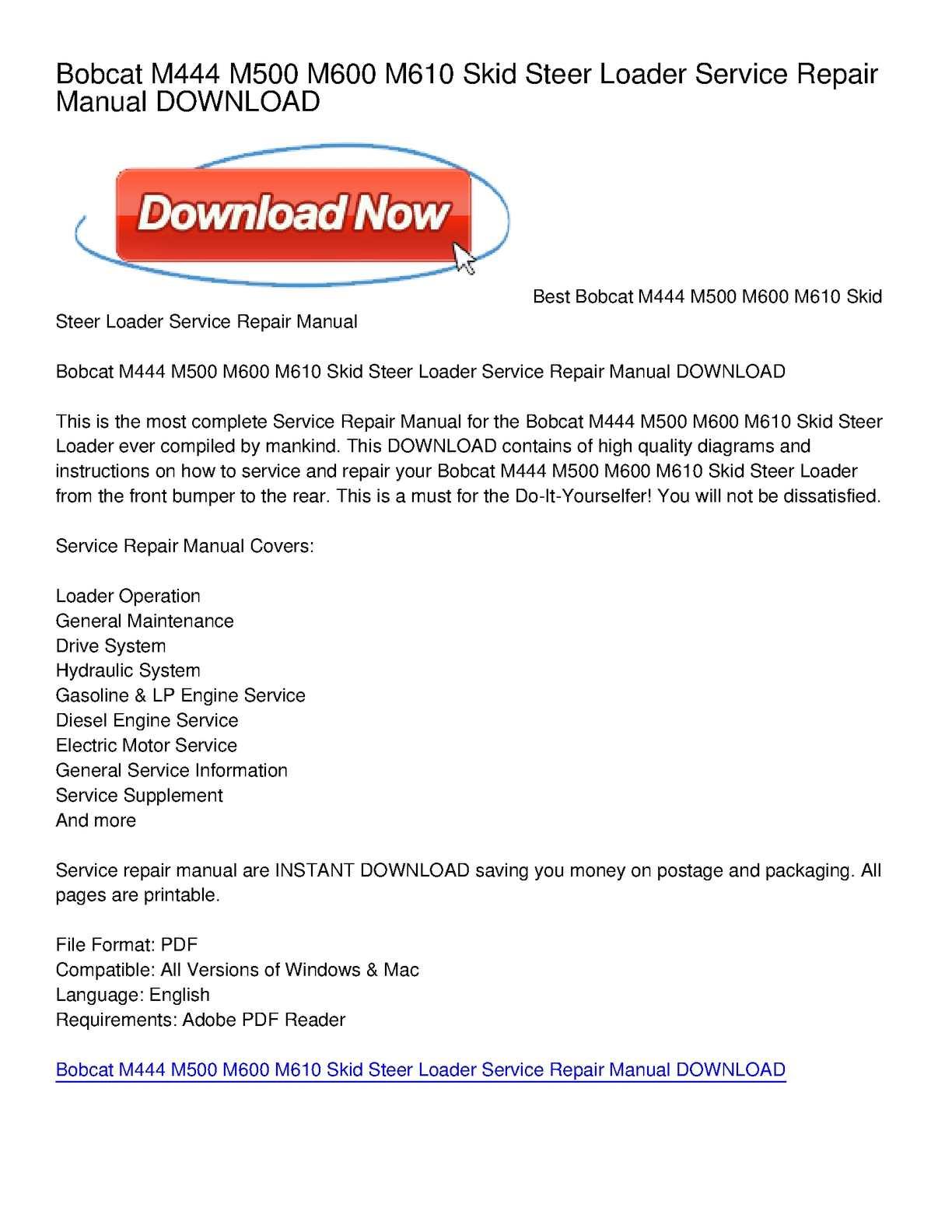 calaméo bobcat m444 m500 m600 m610 skid steer loader service calaméo bobcat m444 m500 m600 m610 skid steer loader service repair manual
