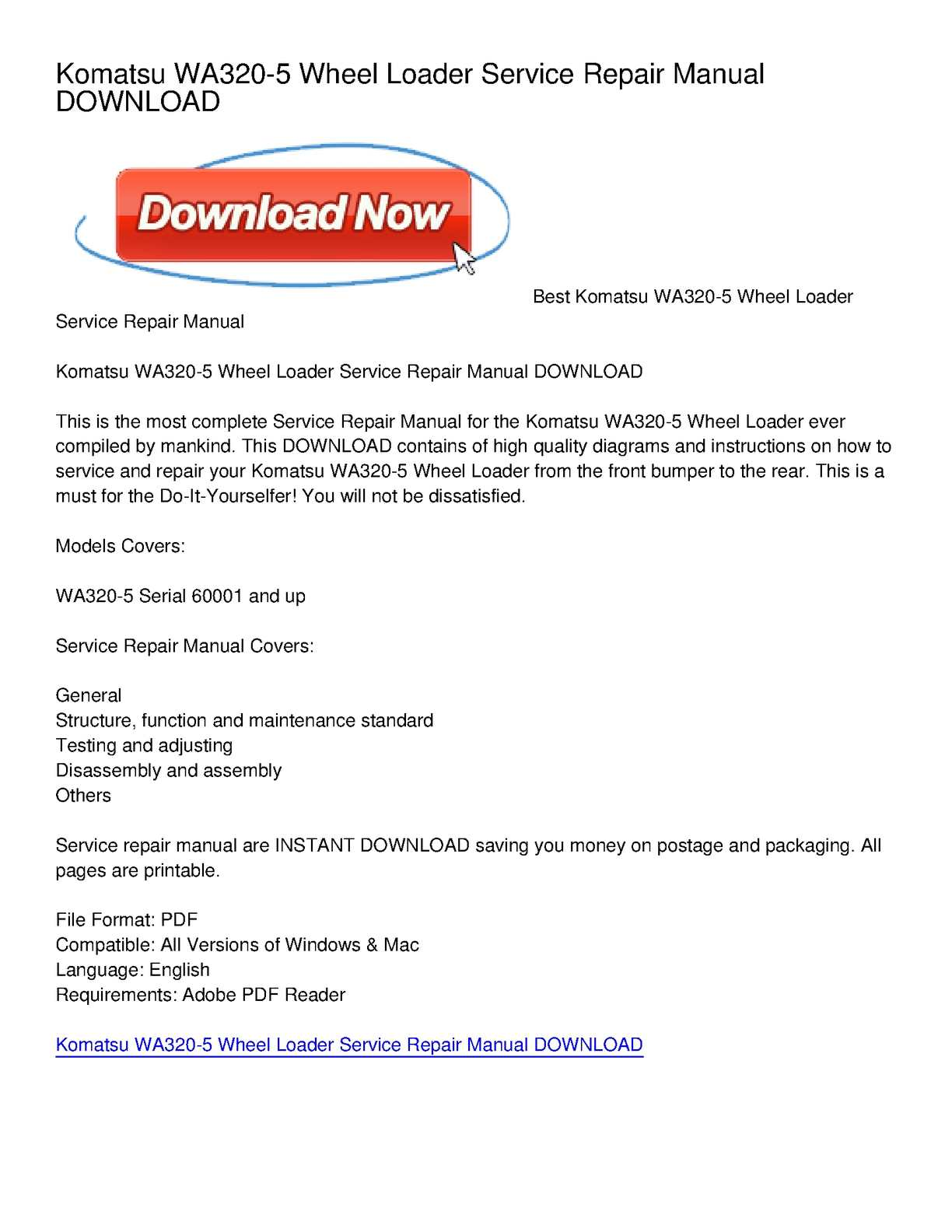 p1 calam�o komatsu wa320 5 wheel loader service repair manual download komatsu wa320 wiring diagram at virtualis.co