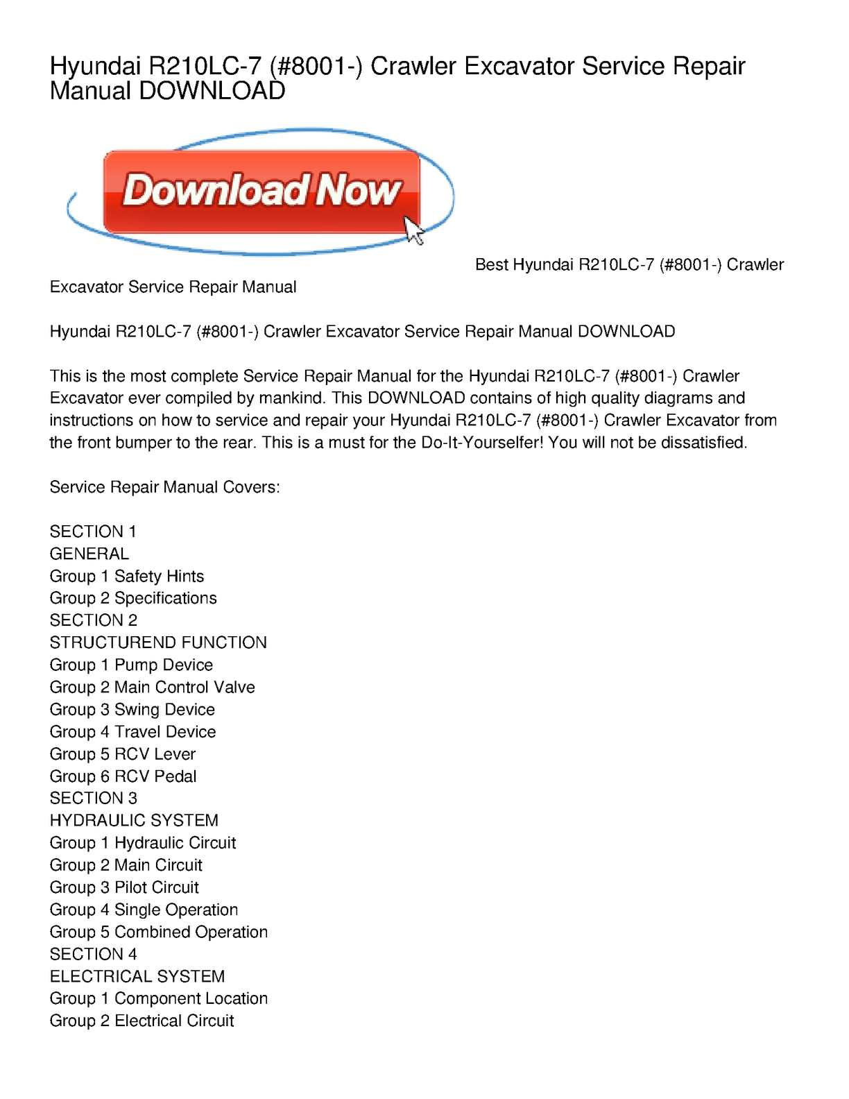 calam o hyundai r210lc 7 8001 crawler excavator service repair rh calameo com Hyundai 2002 Repair Manual 2015 Hyundai Car Repair Manual