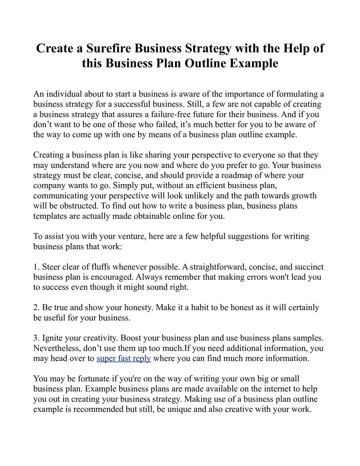 writing a business plan outline