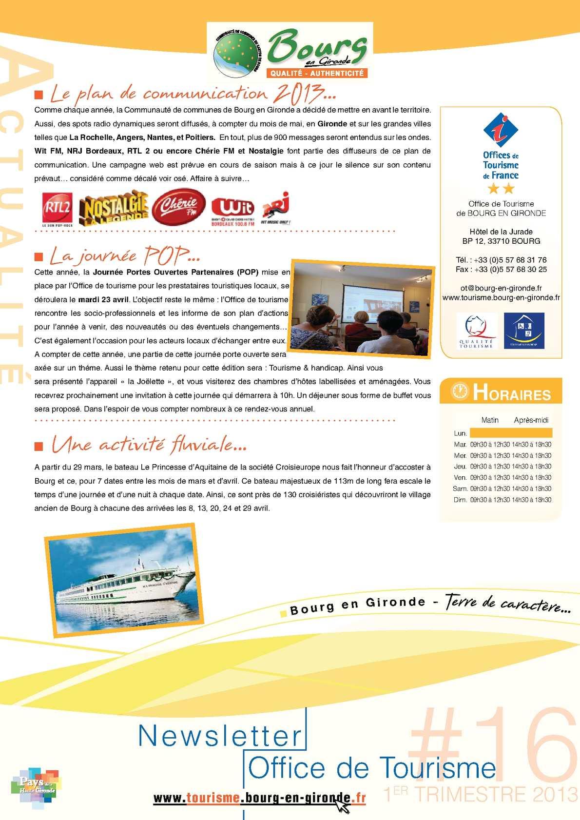 Calam o newsletter 16 office de tourisme de bourg en - Office de tourisme bourg saint andeol ...