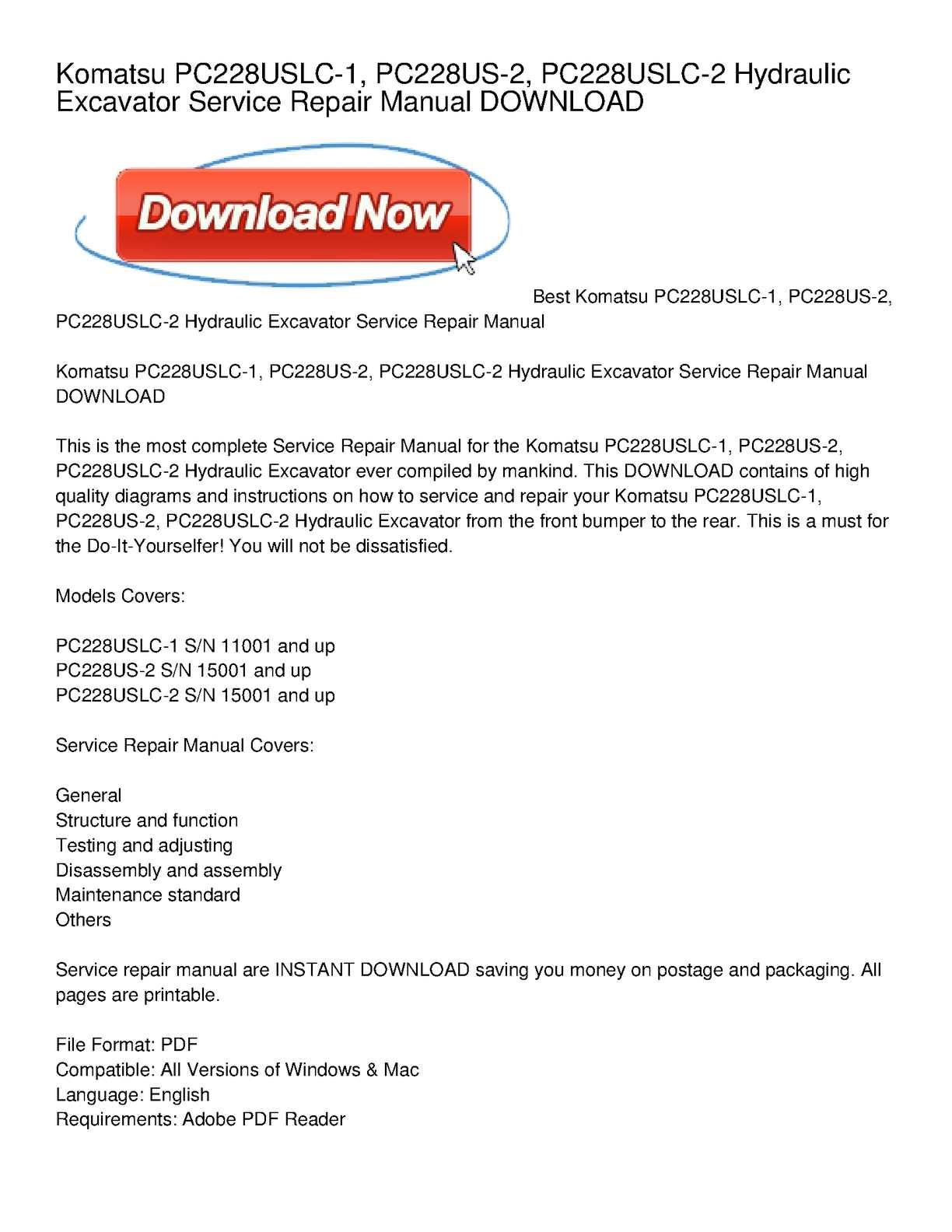 Calaméo - Komatsu PC228USLC-1, PC228US-2, PC228USLC-2 Hydraulic Excavator  Service Repair Manual DOWNLOAD
