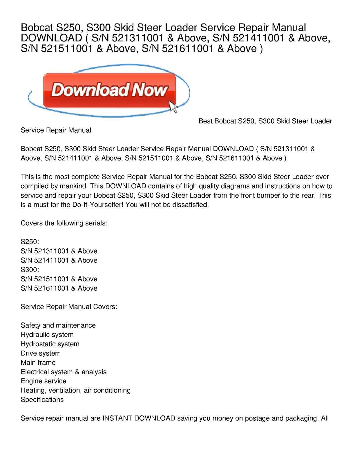 Calaméo - Bobcat S250, S300 Skid Steer Loader Service Repair Manual DOWNLOAD