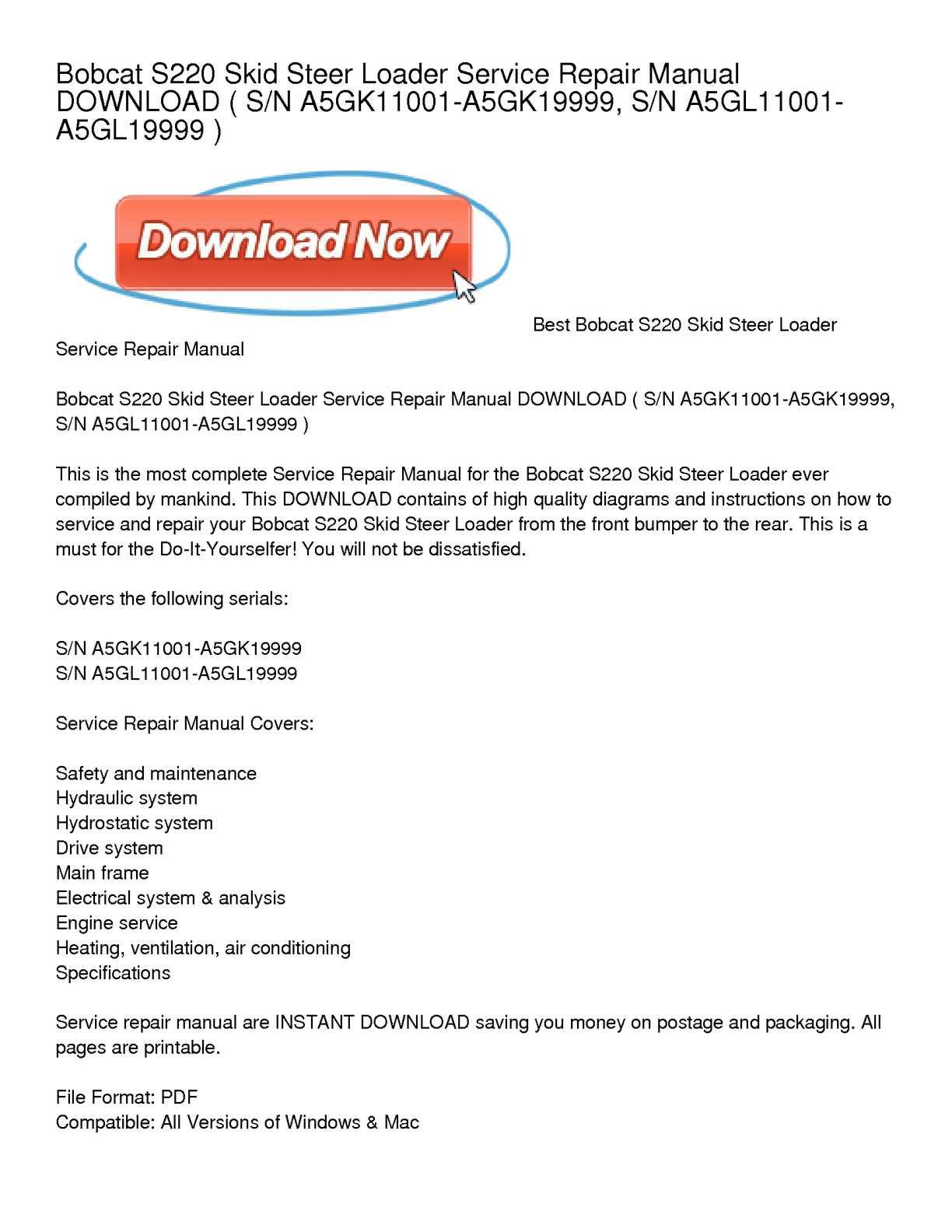 calaméo bobcat s220 skid steer loader service repair manual