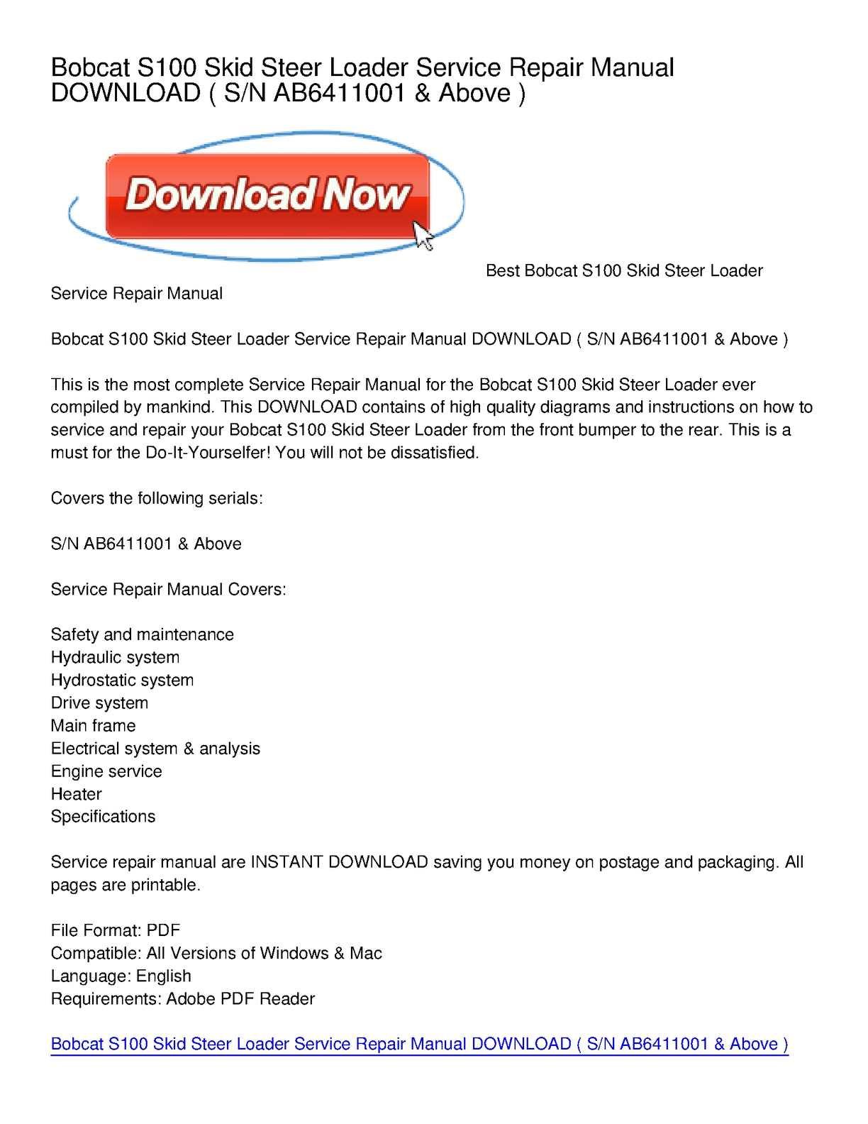 calam o bobcat s100 skid steer loader service repair manual download rh calameo com Bobcat Motor Diagram Bobcat Mower Wiring Diagram