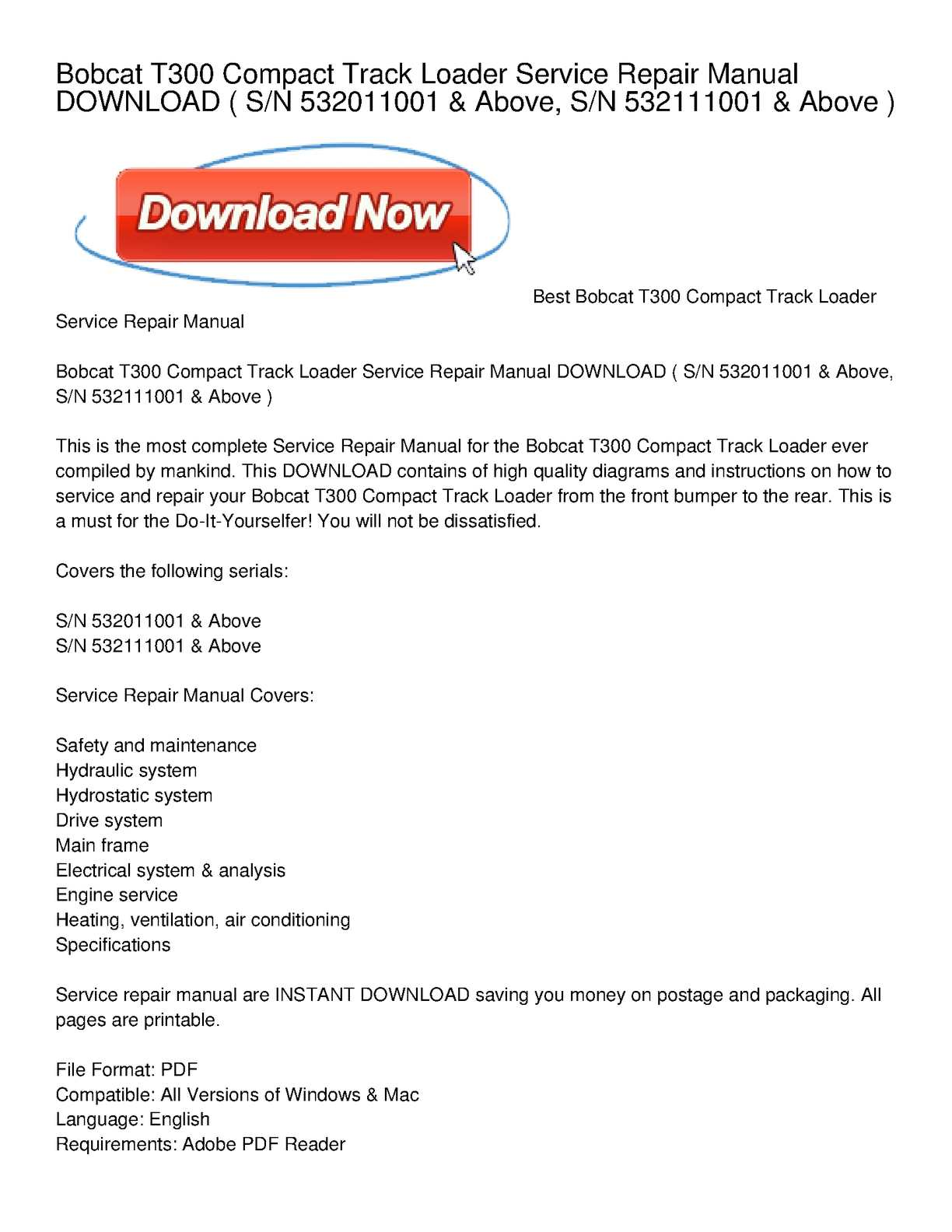 Calaméo - Bobcat T300 Compact Track Loader Service Repair Manual DOWNLOAD