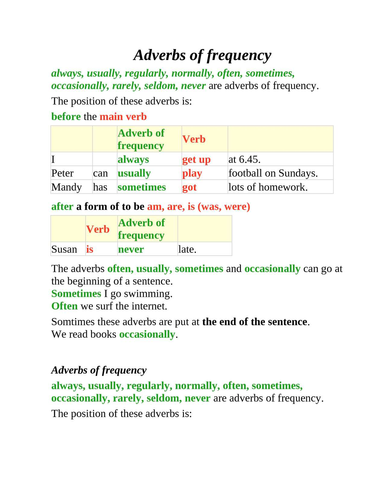 Calamo Frequency Adverbs
