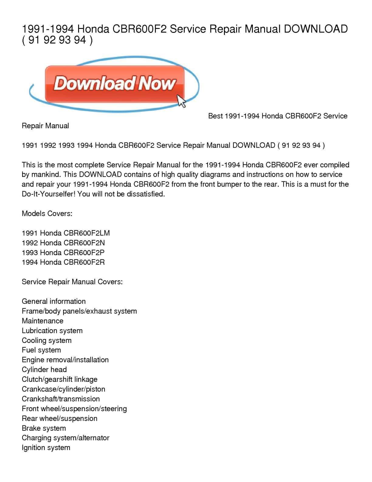 Calamo 1991 1994 Honda Cbr600f2 Service Repair Manual Download Cbr 600 Wire Diagram Wiring Schematic