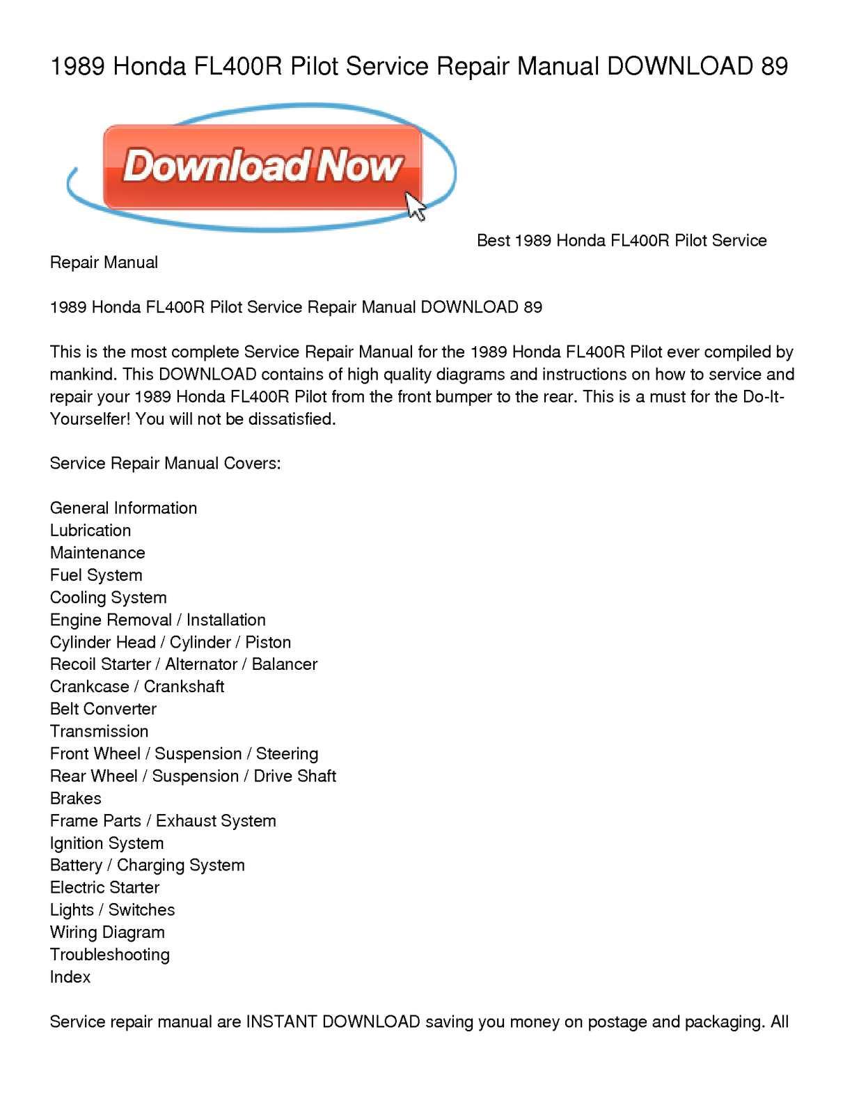 Calamo 1989 Honda Fl400r Pilot Service Repair Manual Download 89 Alternator Charging System Wiring Diagram