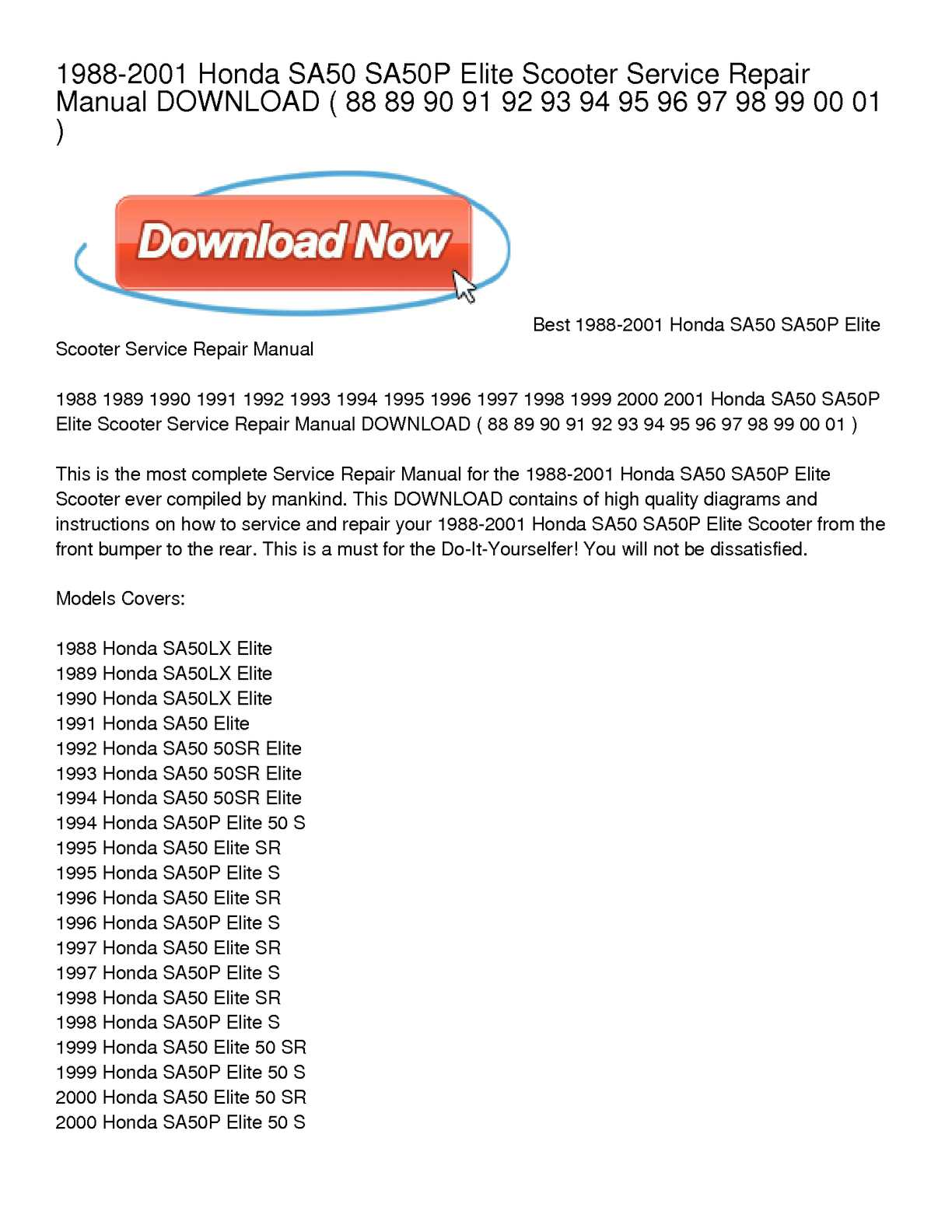 2001 Honda Elite Scooter Wiring Diagram Diy Enthusiasts 1964 50 Diagrams Data Calam O 1988 Sa50 Sa50p Service Repair Rh Calameo Com Trailer C70 Pdf