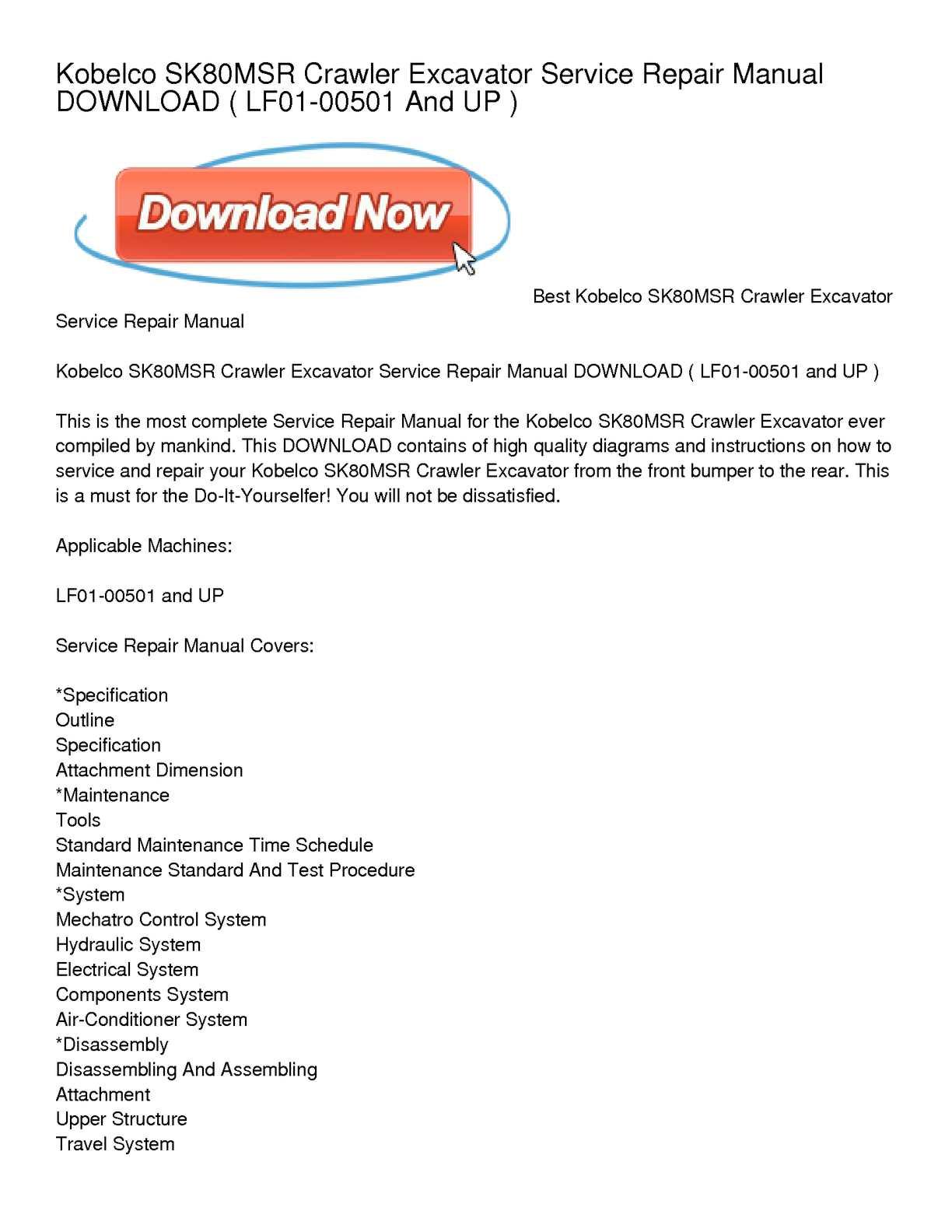 calam o kobelco sk80msr crawler excavator service repair manual rh calameo com Hitachi Excavators Case Excavator