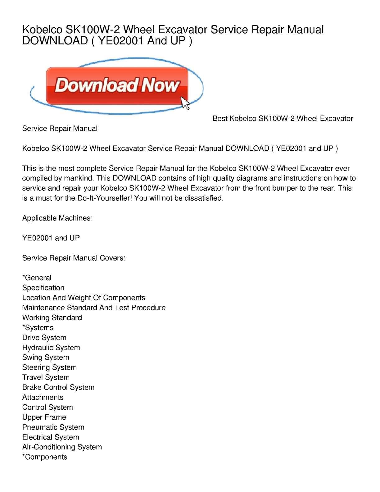 Calamo Kobelco Sk100w 2 Wheel Excavator Service Repair Manual Air Conditioning Maintenance Diagram Basic Showing The Download