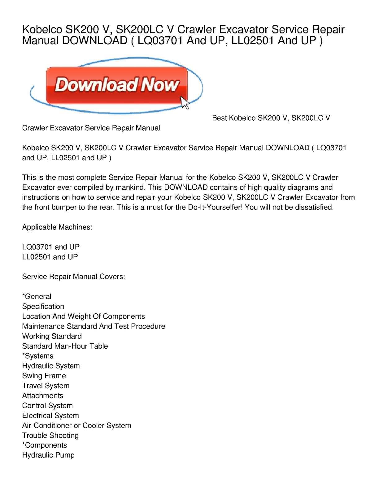 calam o kobelco sk200 v sk200lc v crawler excavator service rh calameo com kobelco excavator service manual pdf kobelco service manuals sk200-8