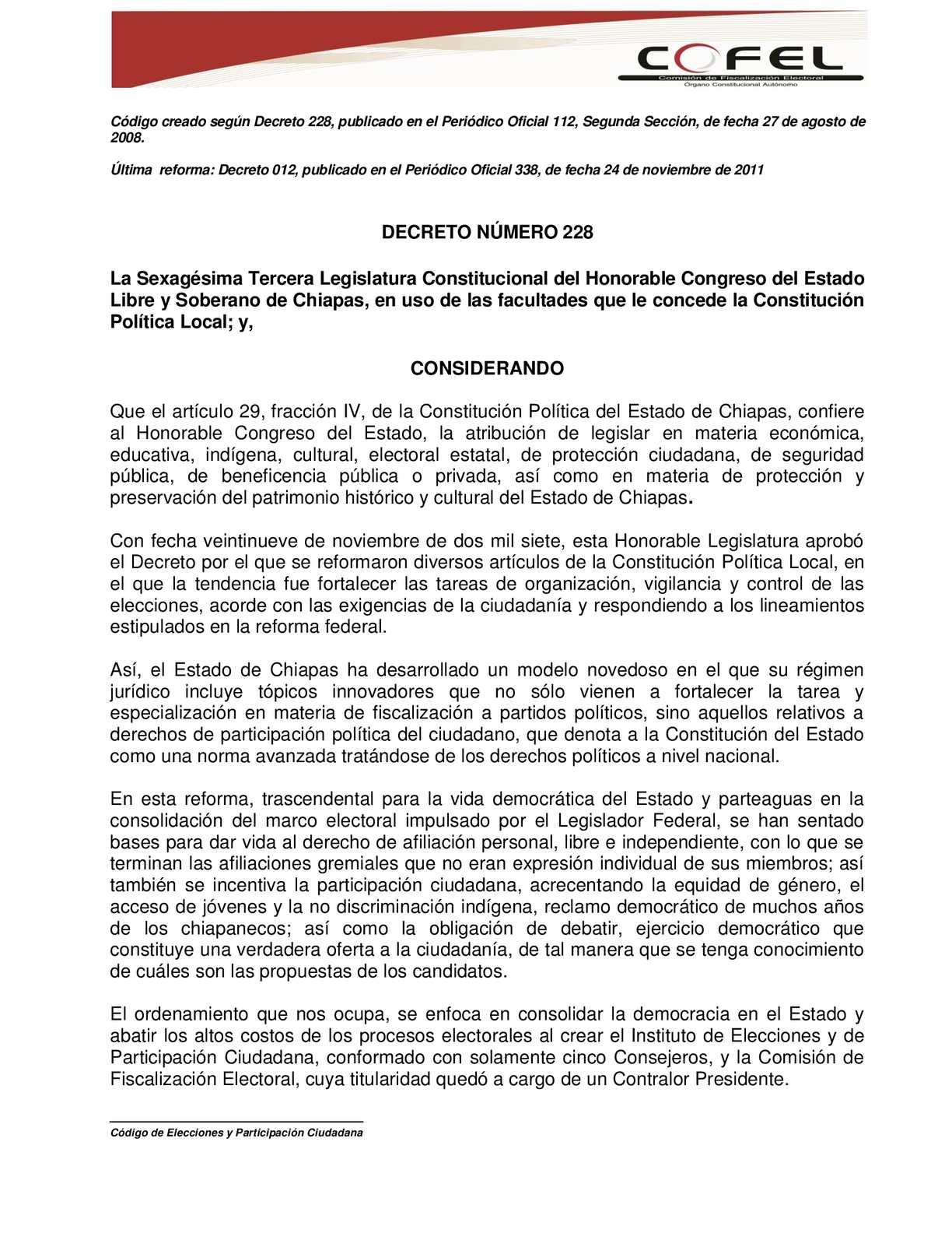 Calaméo - Codigo de Elecciones y Participacion Ciudadana