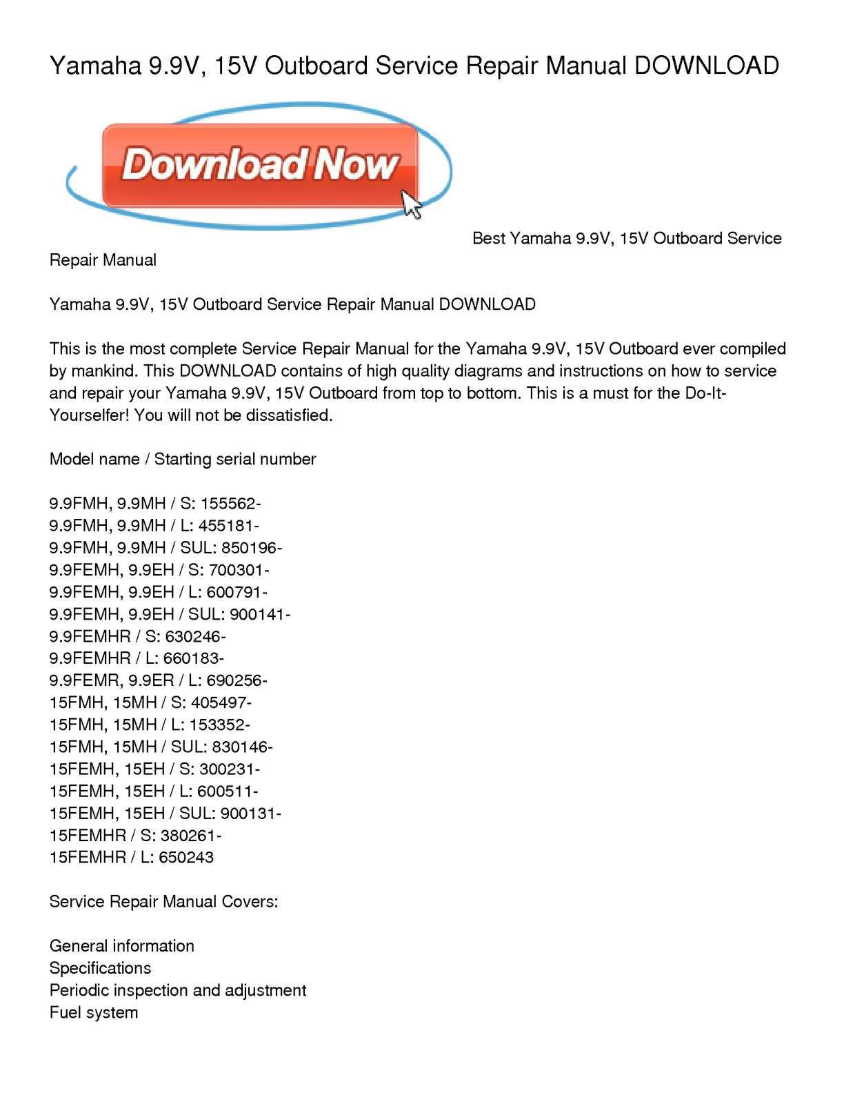 calam o yamaha 9 9v 15v outboard service repair manual download rh calameo com force outboard repair manual pdf repair manual for 9.8 mercury outboard