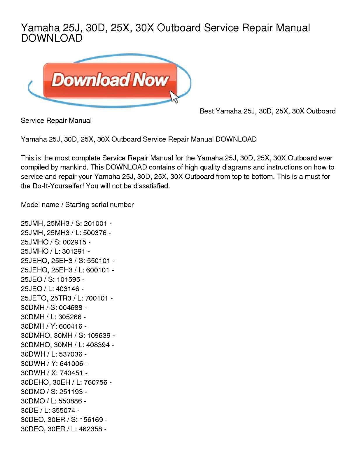 Calaméo - Yamaha 25J, 30D, 25X, 30X Outboard Service Repair Manual DOWNLOAD
