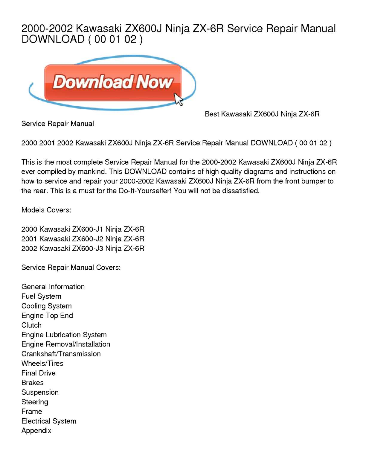 Calamo 2000 2002 Kawasaki Zx600j Ninja Zx 6r Service Repair 2001 Bobcat Wiring Diagram Manual Download
