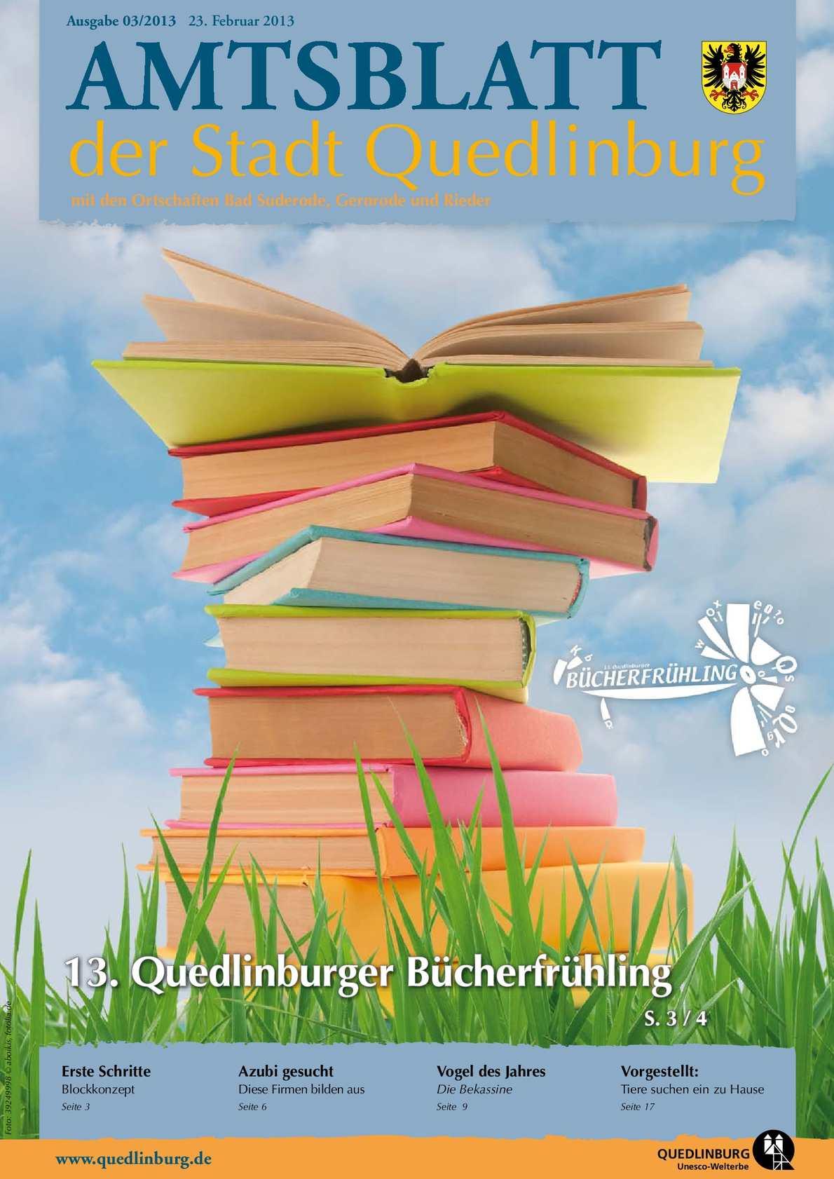 Calameo Amtsblatt Der Stadt Quedlinburg Mit Den Ortschaften Bad