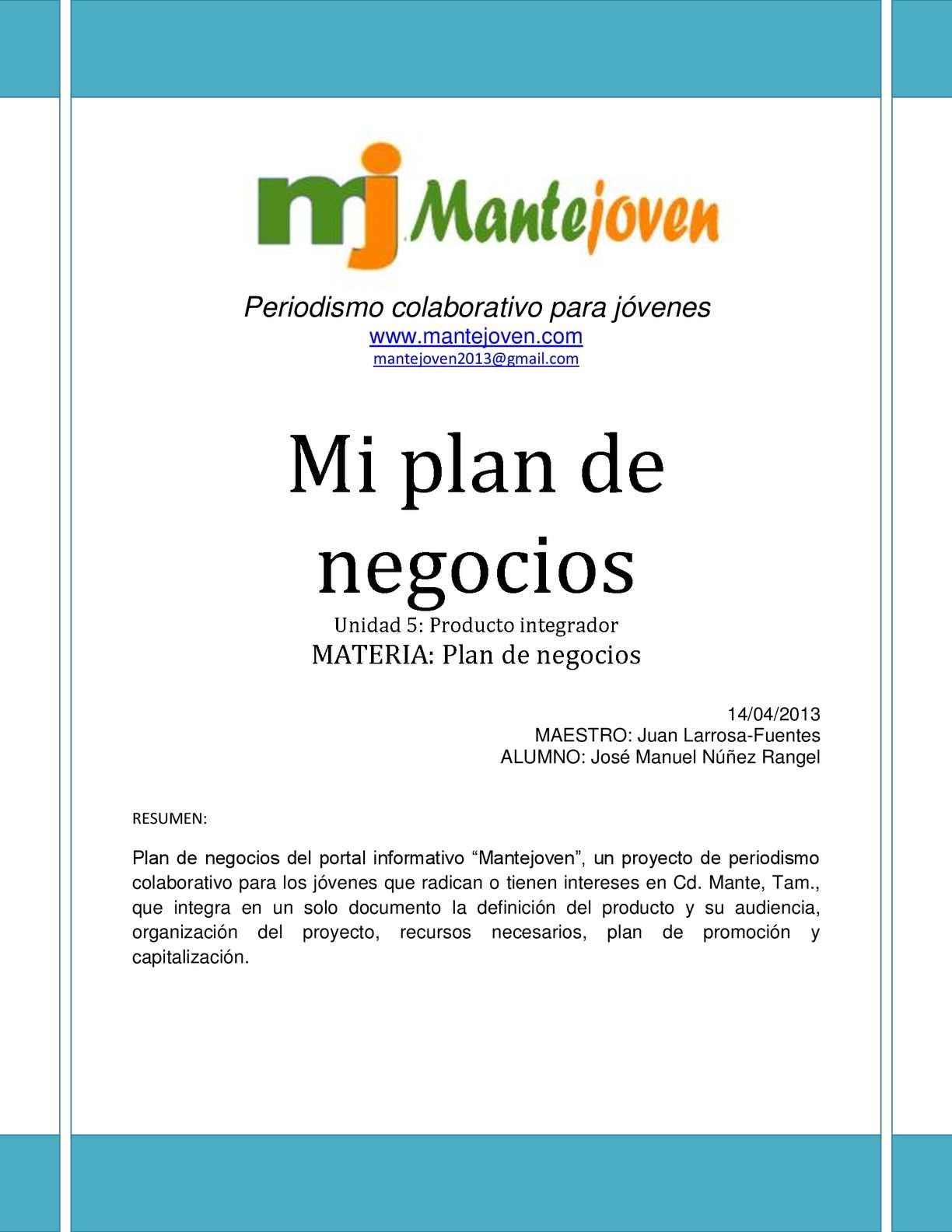 Plan de Negocios Mante joven en pdf
