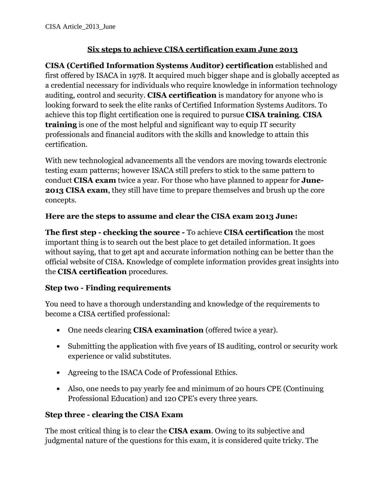 Calamo Six Steps To Achieve Cisa Certification Exam June 2013