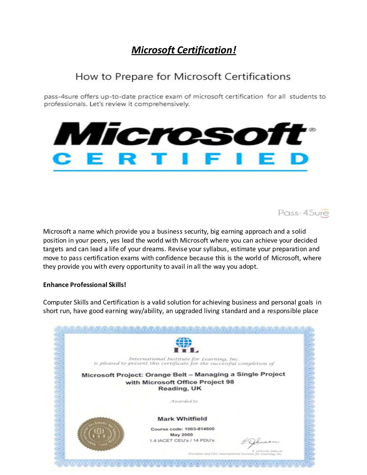 Calamo Microsoft Certification By Pass 4sure