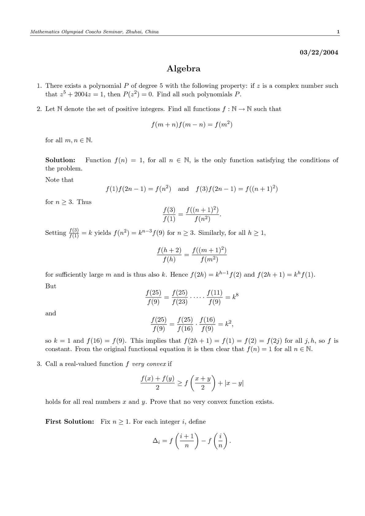 Zhuhai - Mathematics Olympiad Coachs Seminar
