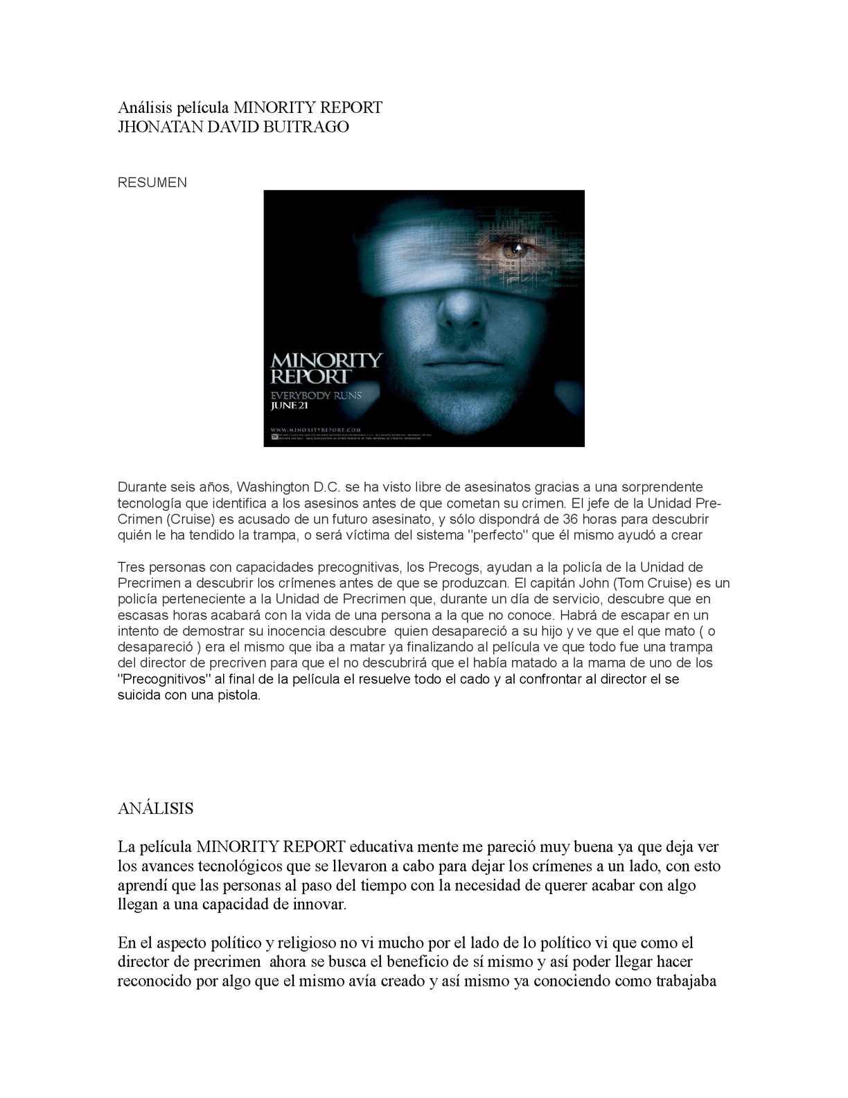 Calaméo - Análisis película MINORITY REPORT