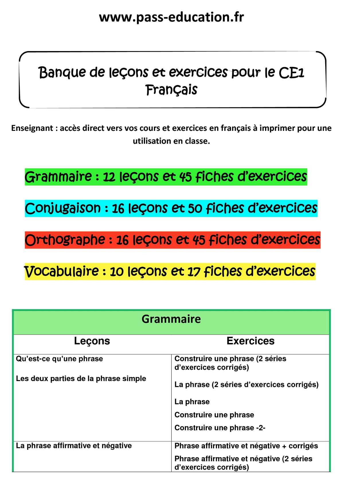 Calaméo - CE1 français - Banque de leçons et exercices