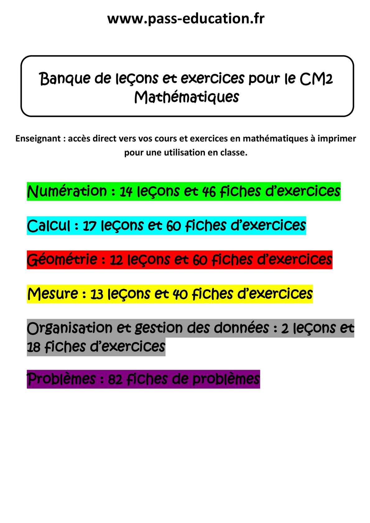 Calam o cm2 math matiques banque de le ons et exercices - Calcul cm1 a imprimer ...