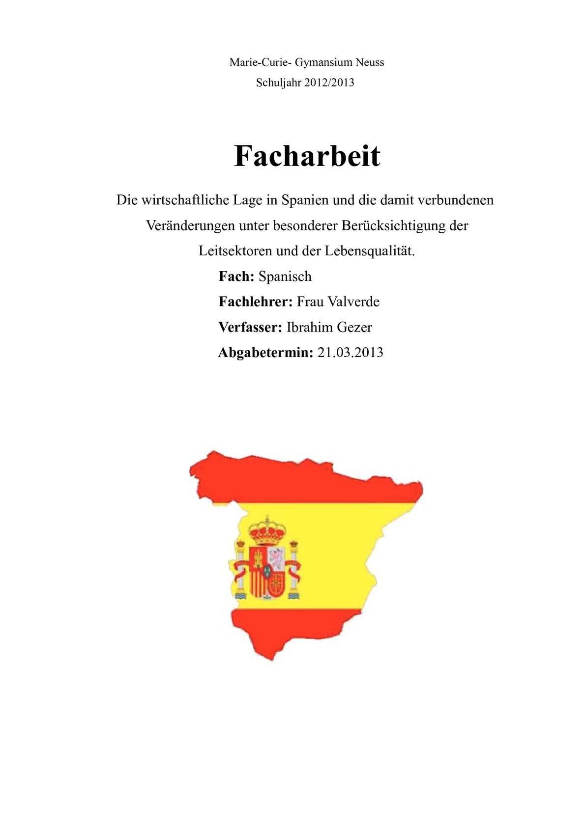 calamo facharbeit spanisch - Facharbeit Muster