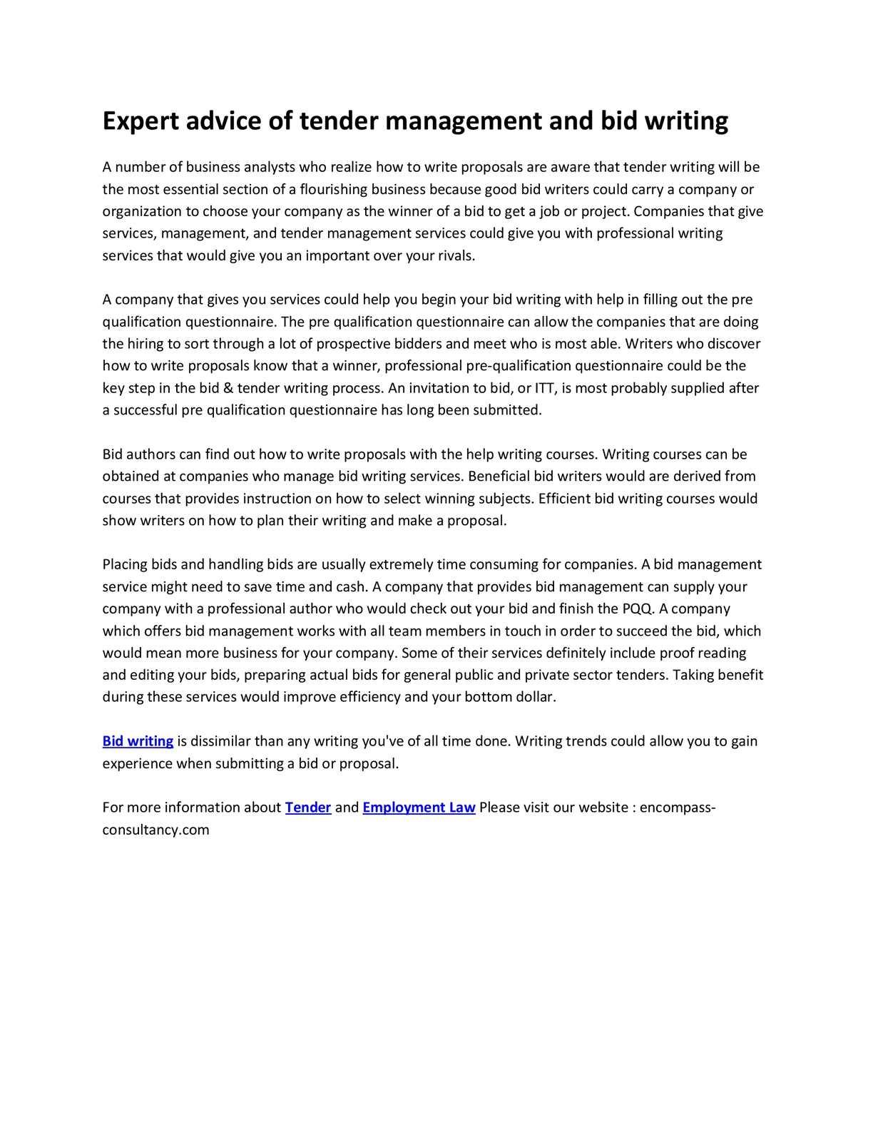 bid writing services