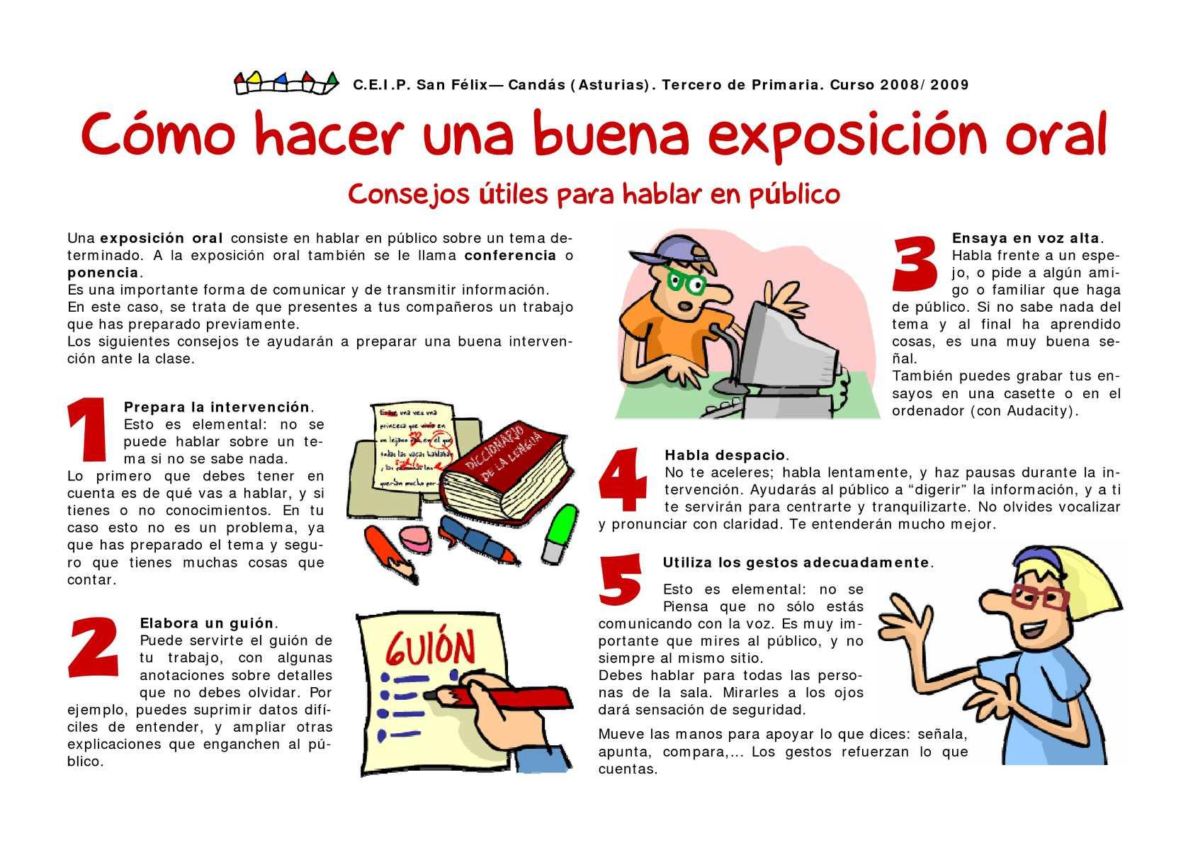 Calam o exposici n oral ceip san f lix cand s asturias for Pasos para realizar una exposicion