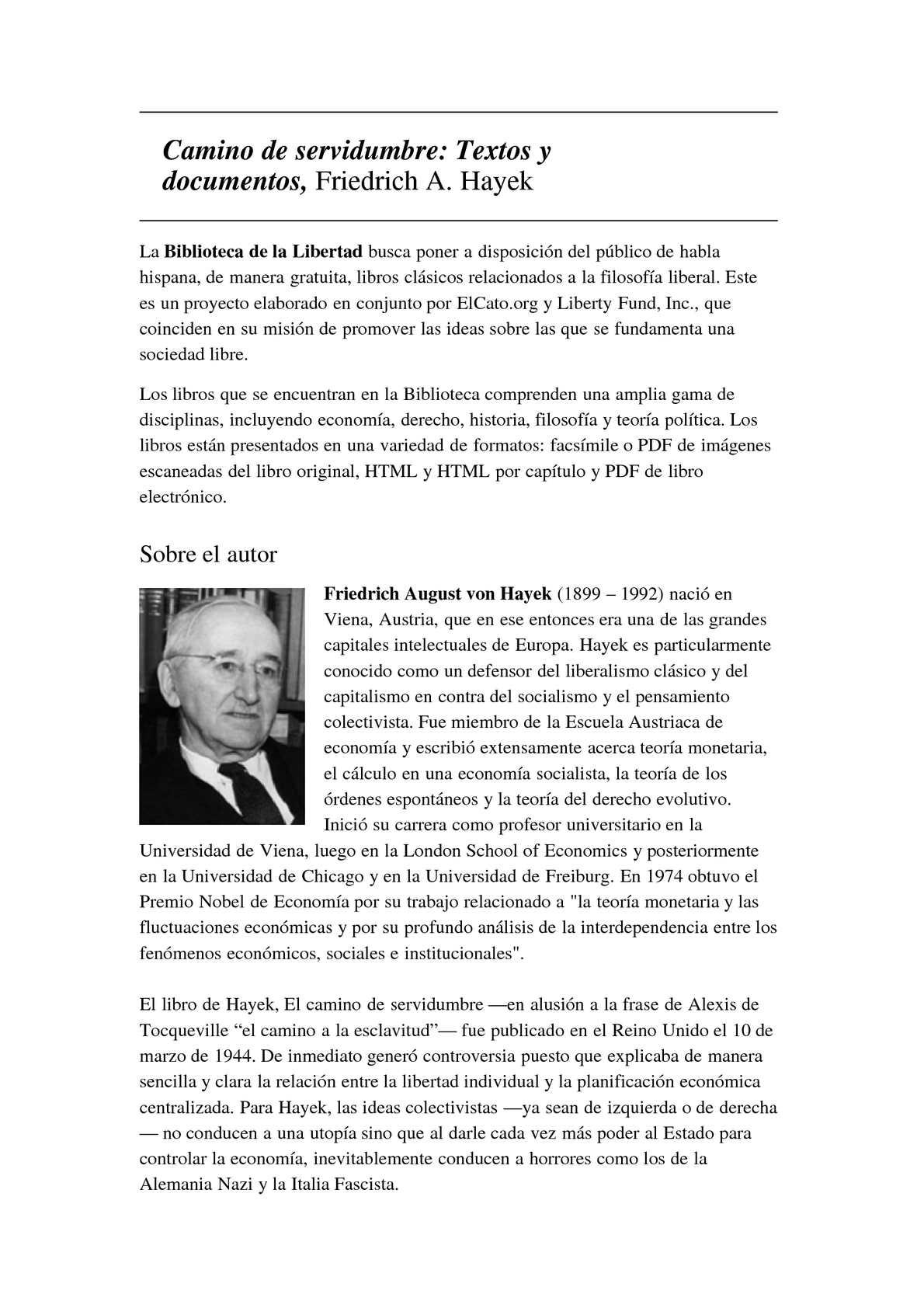 Calaméo - Friedrich August von Hayek: Camino de servidumbre