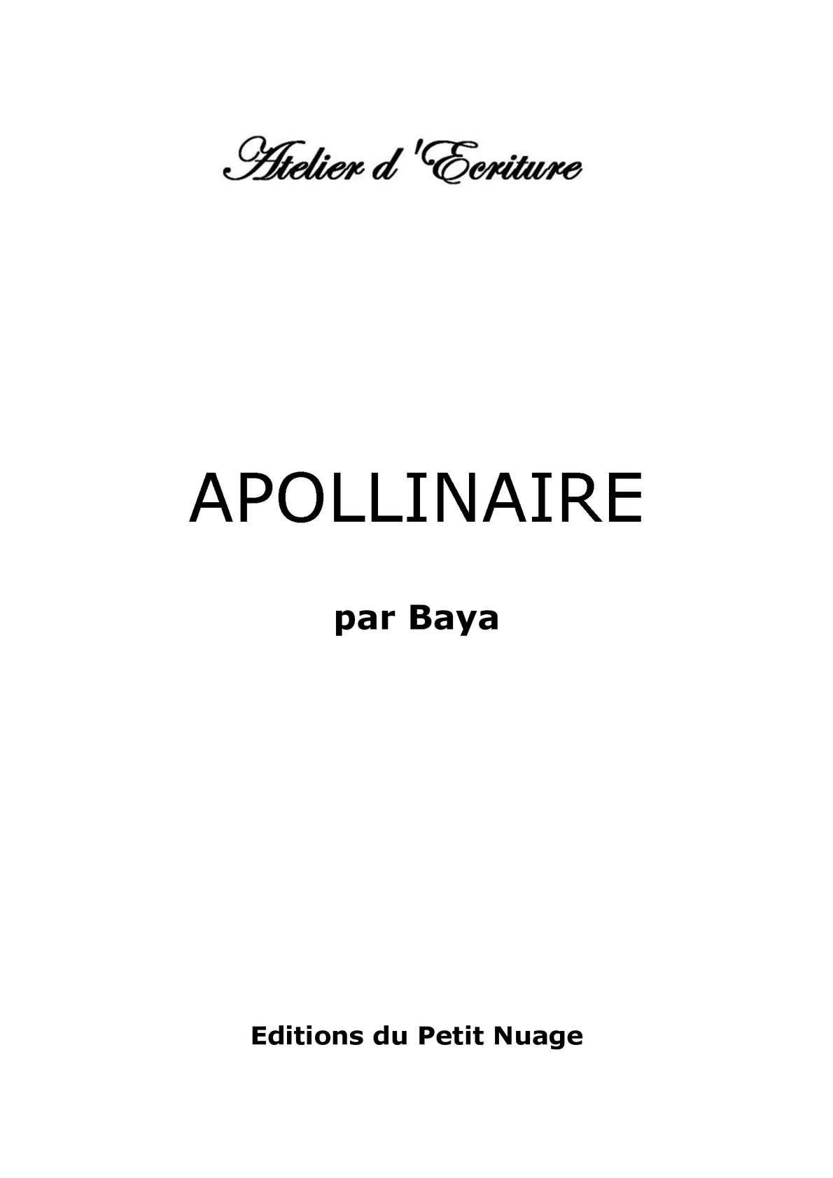APOLLINAIRE par Baya