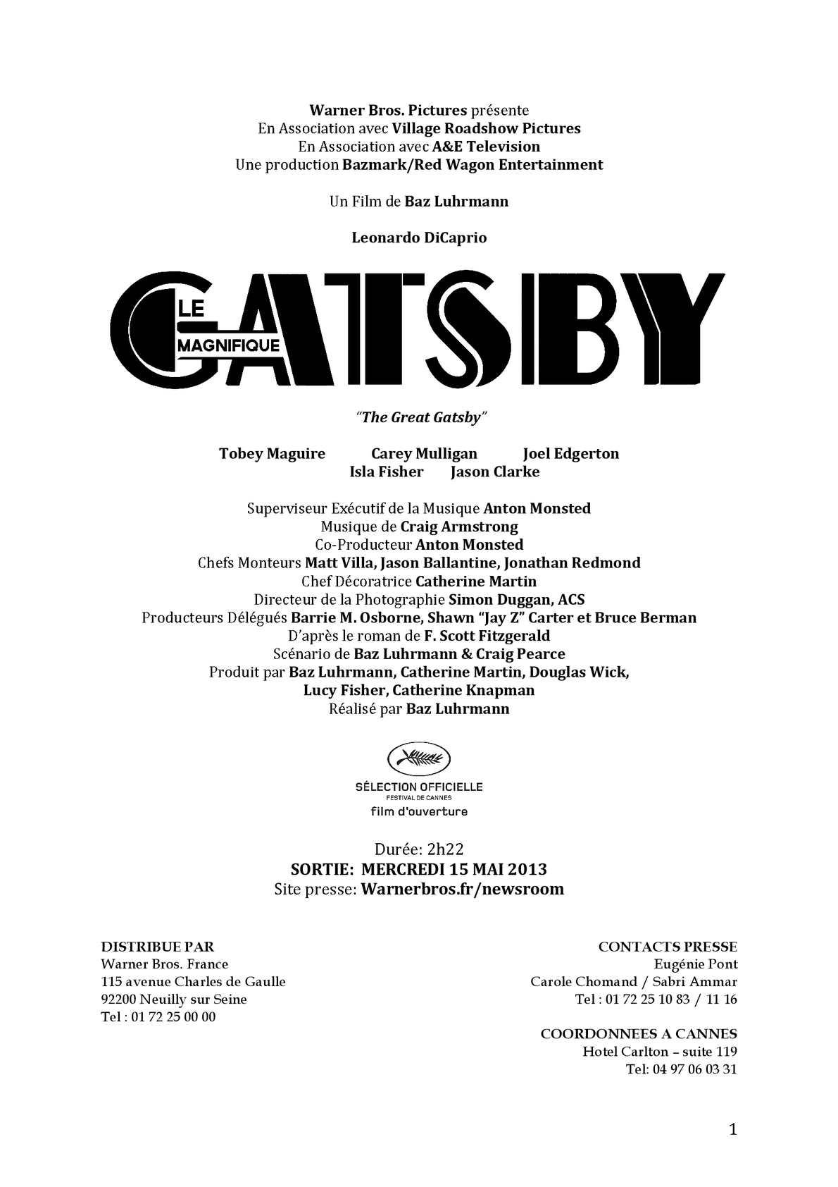 GATSBY LE MAGNIFIQUE Un film de Baz Luhrmann