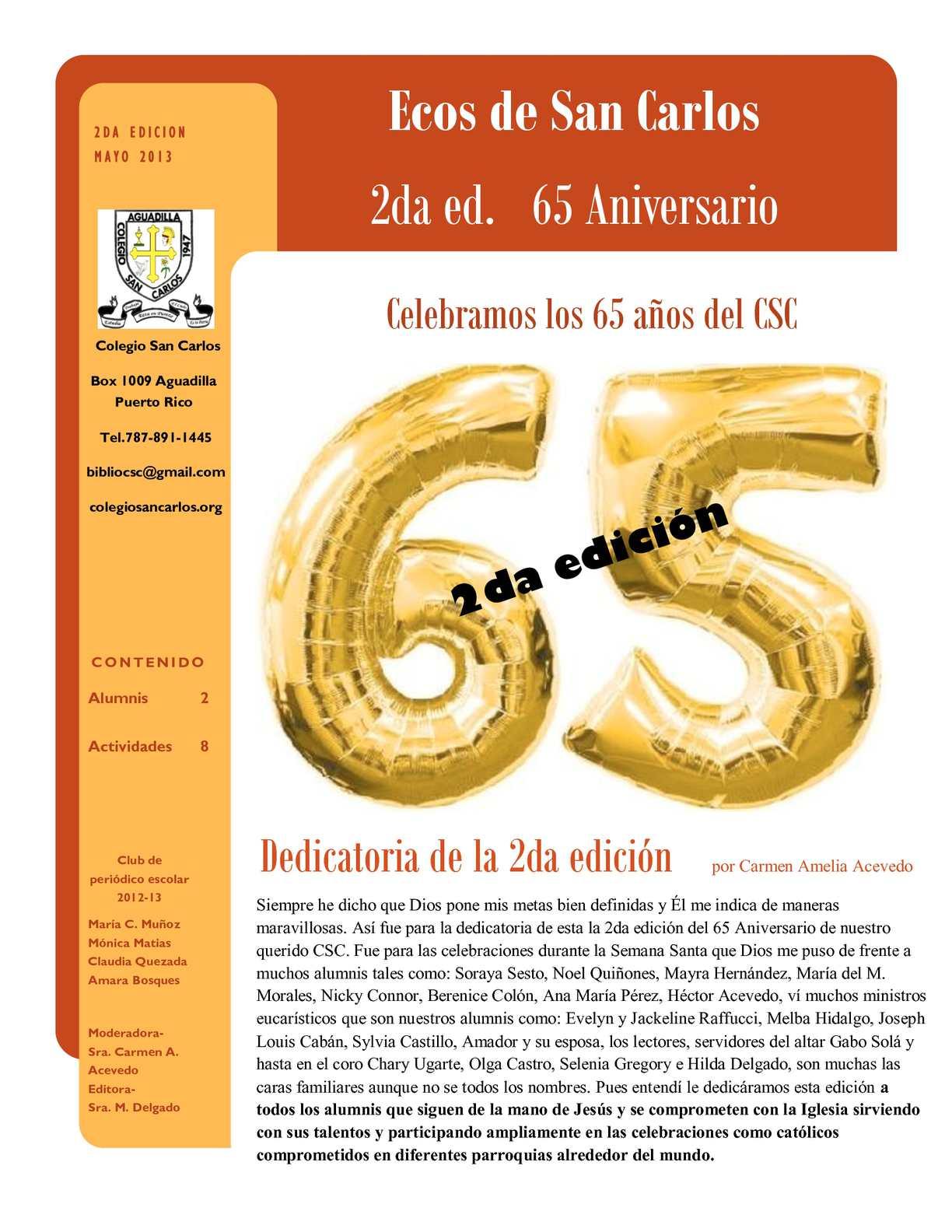 Calaméo - Ecos de San Carlos 2da ed. 65 Aniversario