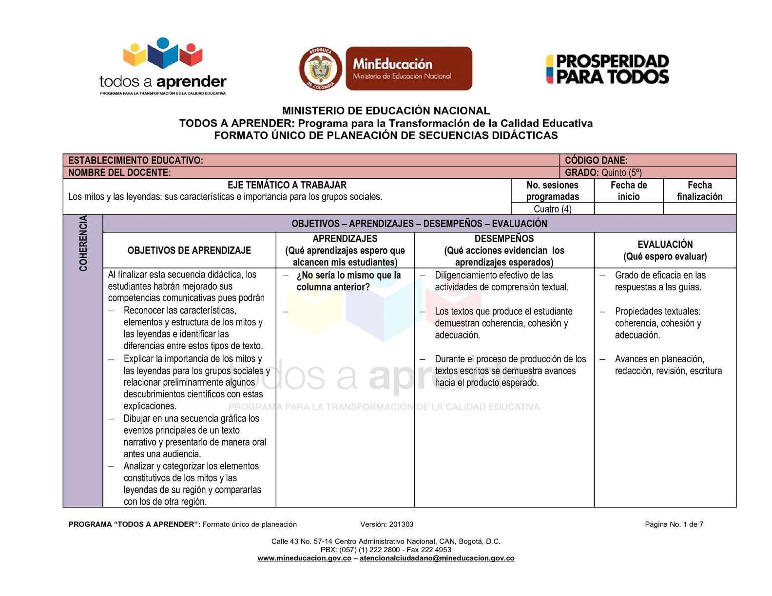 Calaméo - FORMATO ÚNICO DE PLANEACION - SECUENCIAS DIDACTICAS