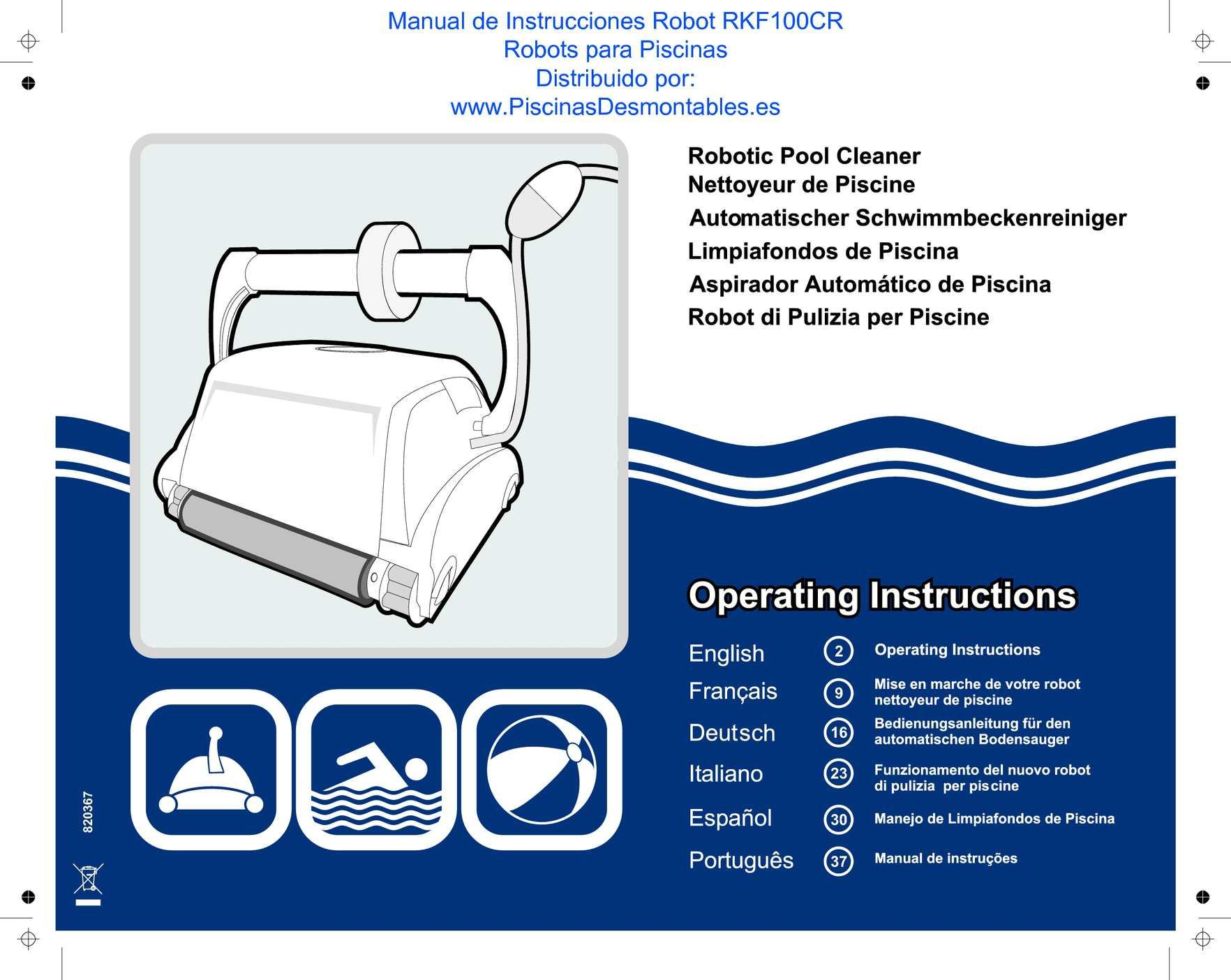 Calam o manual de instrucciones piscinas gre robot rkf100cr for Manual mantenimiento piscinas