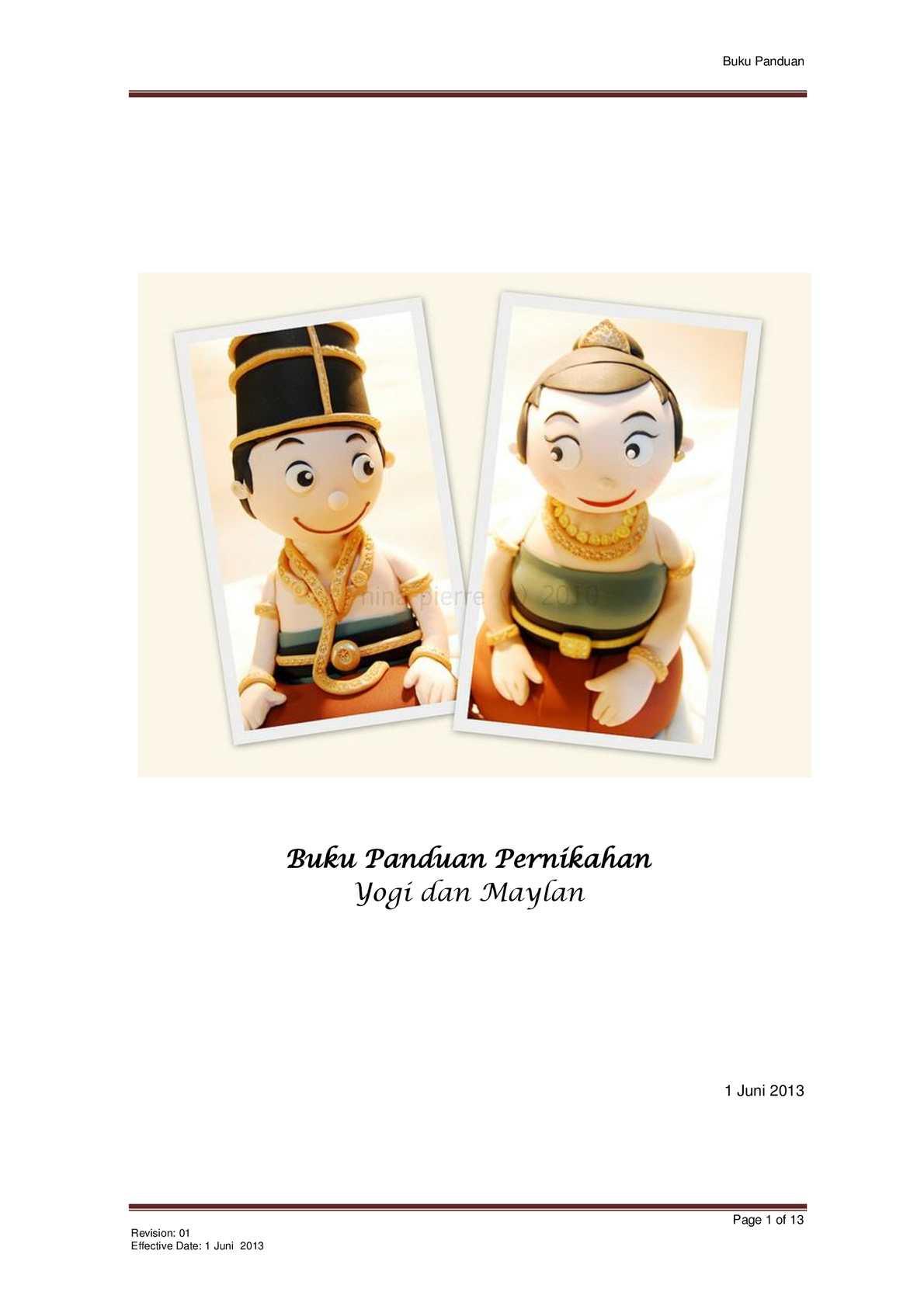 Buku Panduan Acara Pernikahan Yogi & Maylan 1 Juni 2013