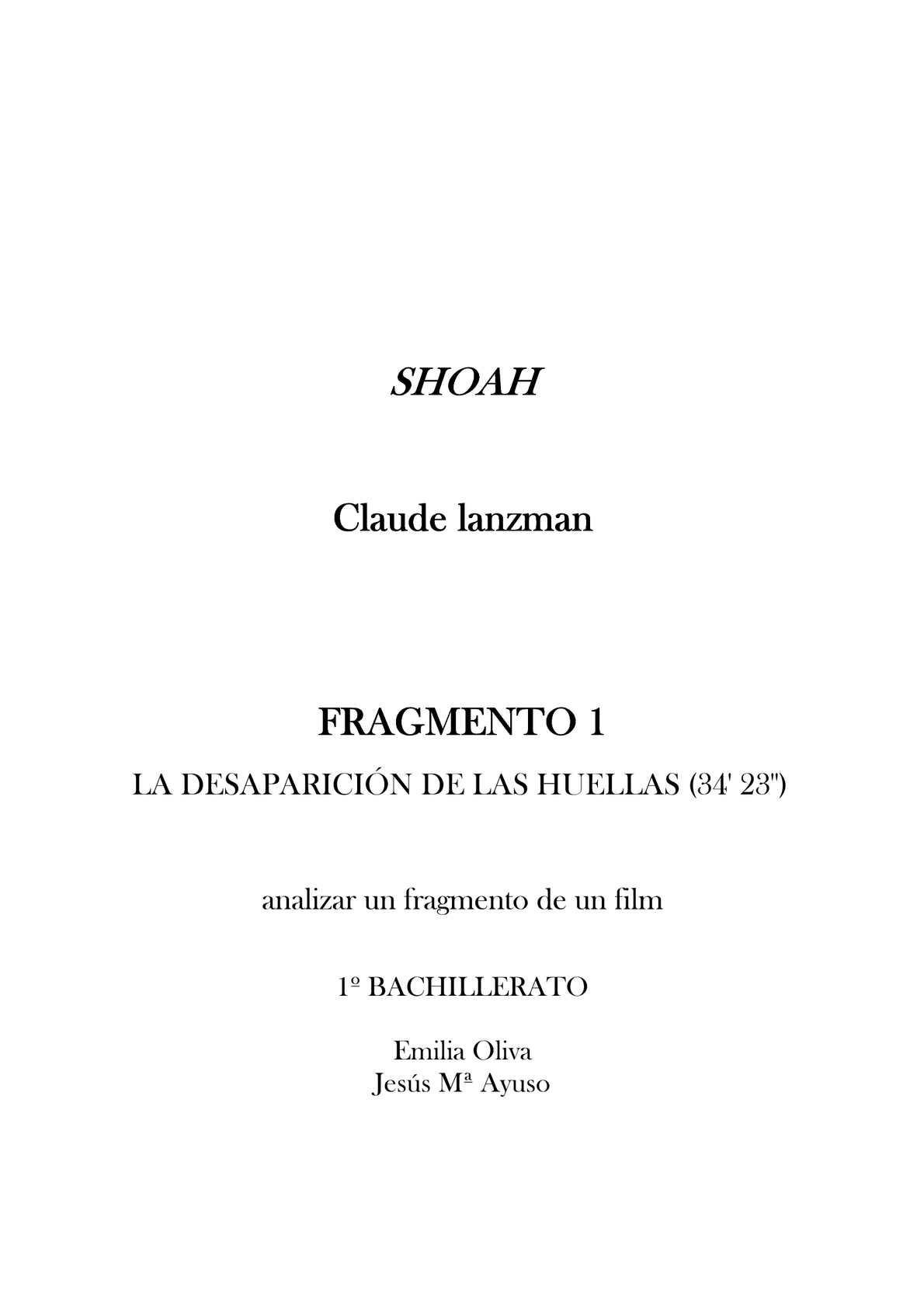 Analizar un fragmento de Shoah de Claude Lanzman - Ficha