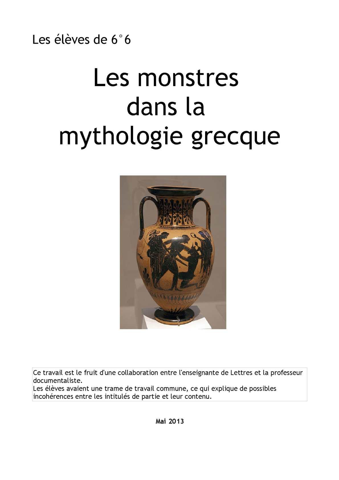 Les monstres dans la Mythologie grecque - 6°6