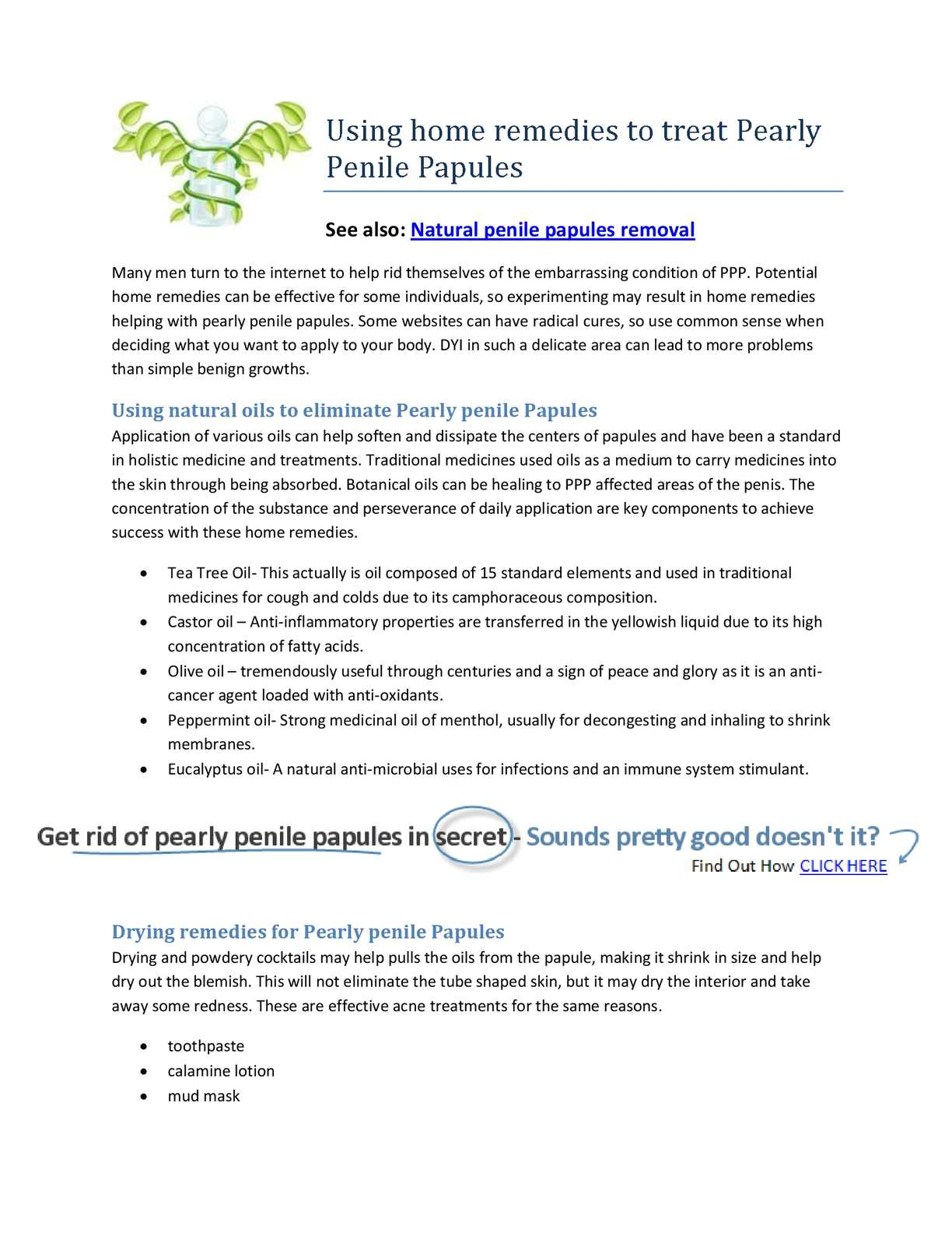 How to treat pearly penile papules