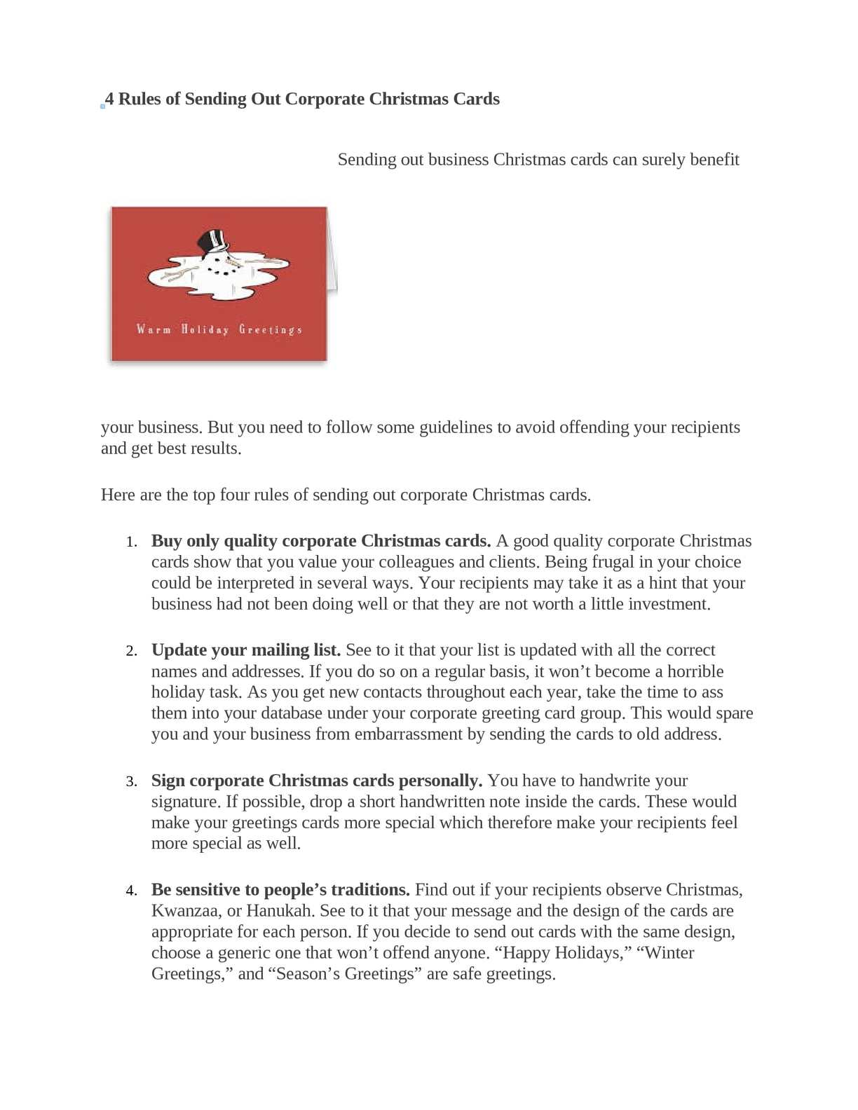Calamo 4 rules of sending out corporate christmas cards reheart Images