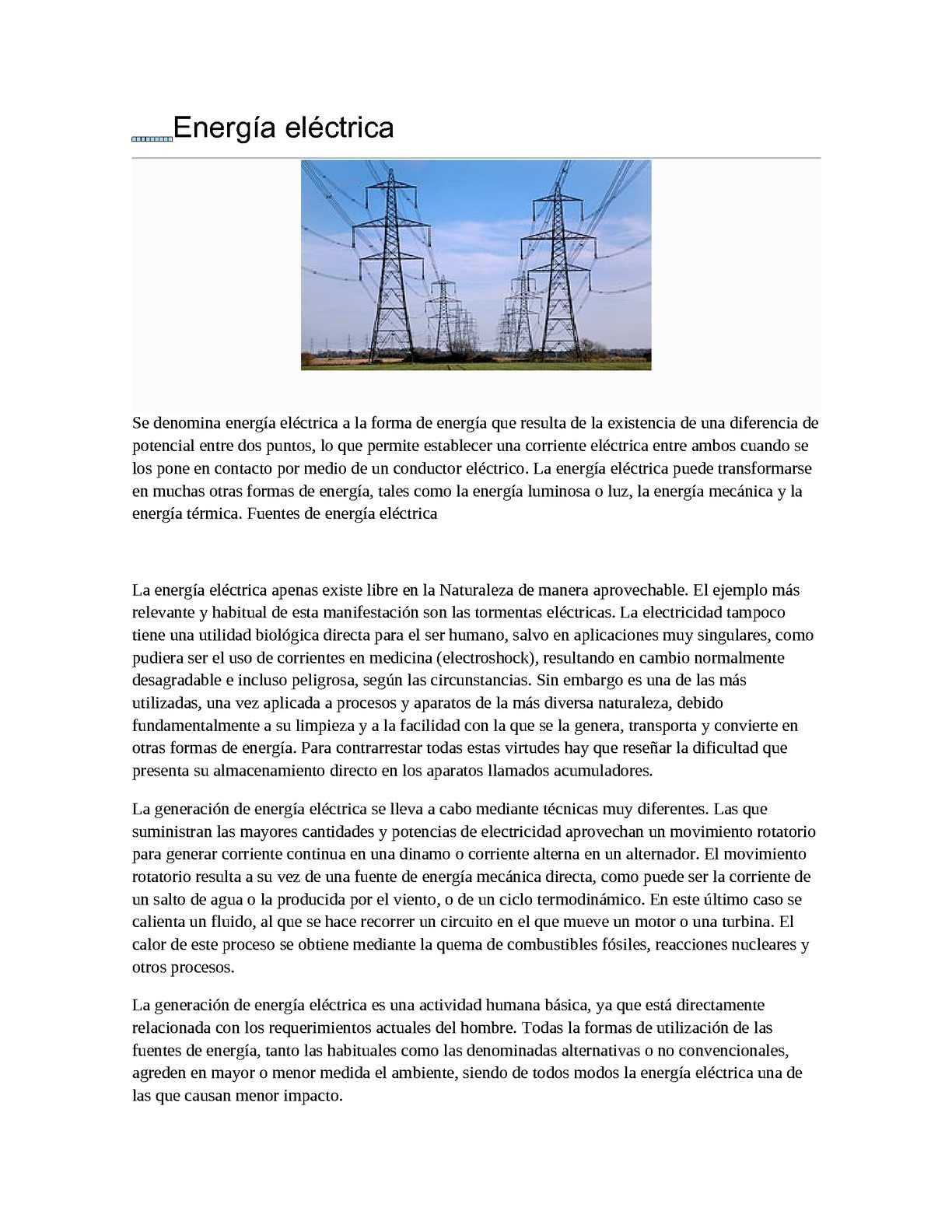 Circuito Que Recorre La Electricidad Desde Su Generación Hasta Su Consumo : Calaméo energia electrica