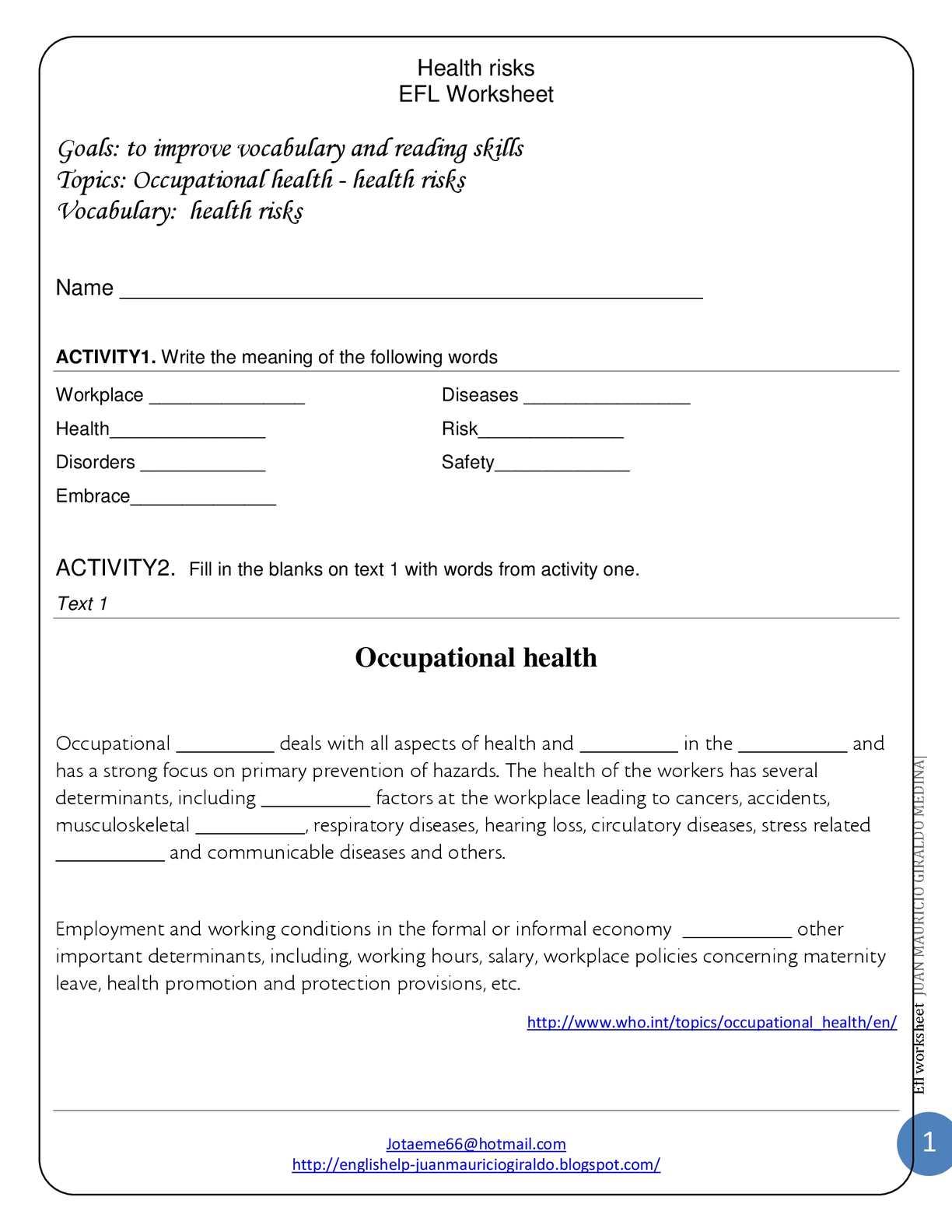 calam o ocuppational health health risks efl worksheet. Black Bedroom Furniture Sets. Home Design Ideas