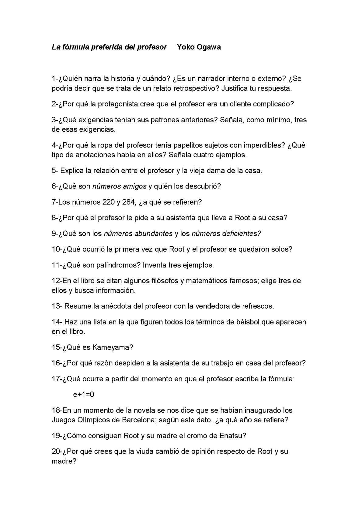 Calaméo - Actividades sobre La fórmula preferida del profesor (Yoko ...