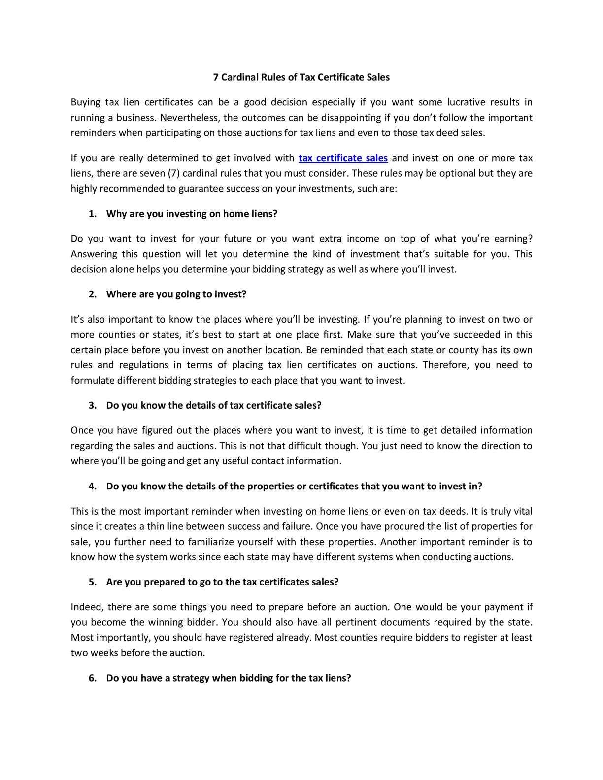 Calamo 7 Cardinal Rules Of Tax Certificate Sales