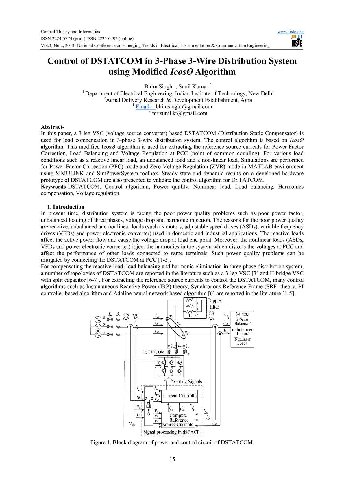 Calamo Control Of Dstatcom In 3 Phase Wire Distribution System Static Converter Diagram Using Modified Icos Algorithm