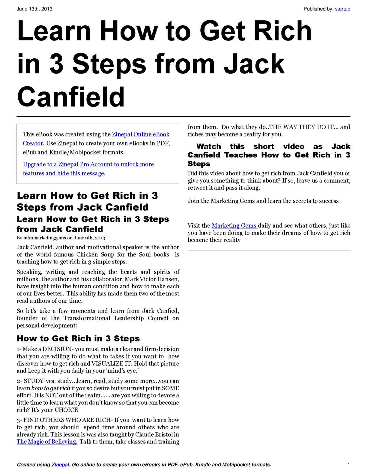 Calameo Learn How To Get Rich In 3 Steps From Jack Canfield