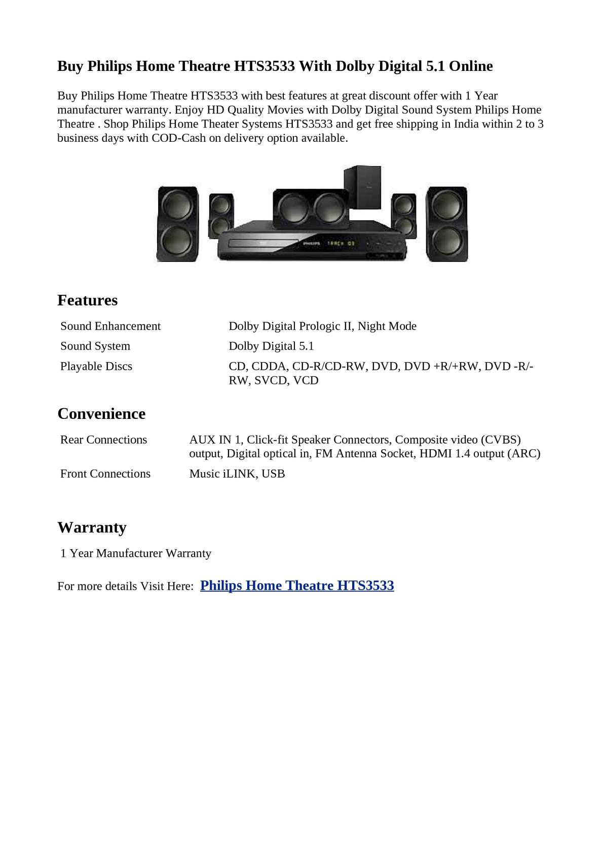Calaméo - Philips Home Theatre HTS3533 With Dolby Digital 5.1 Online